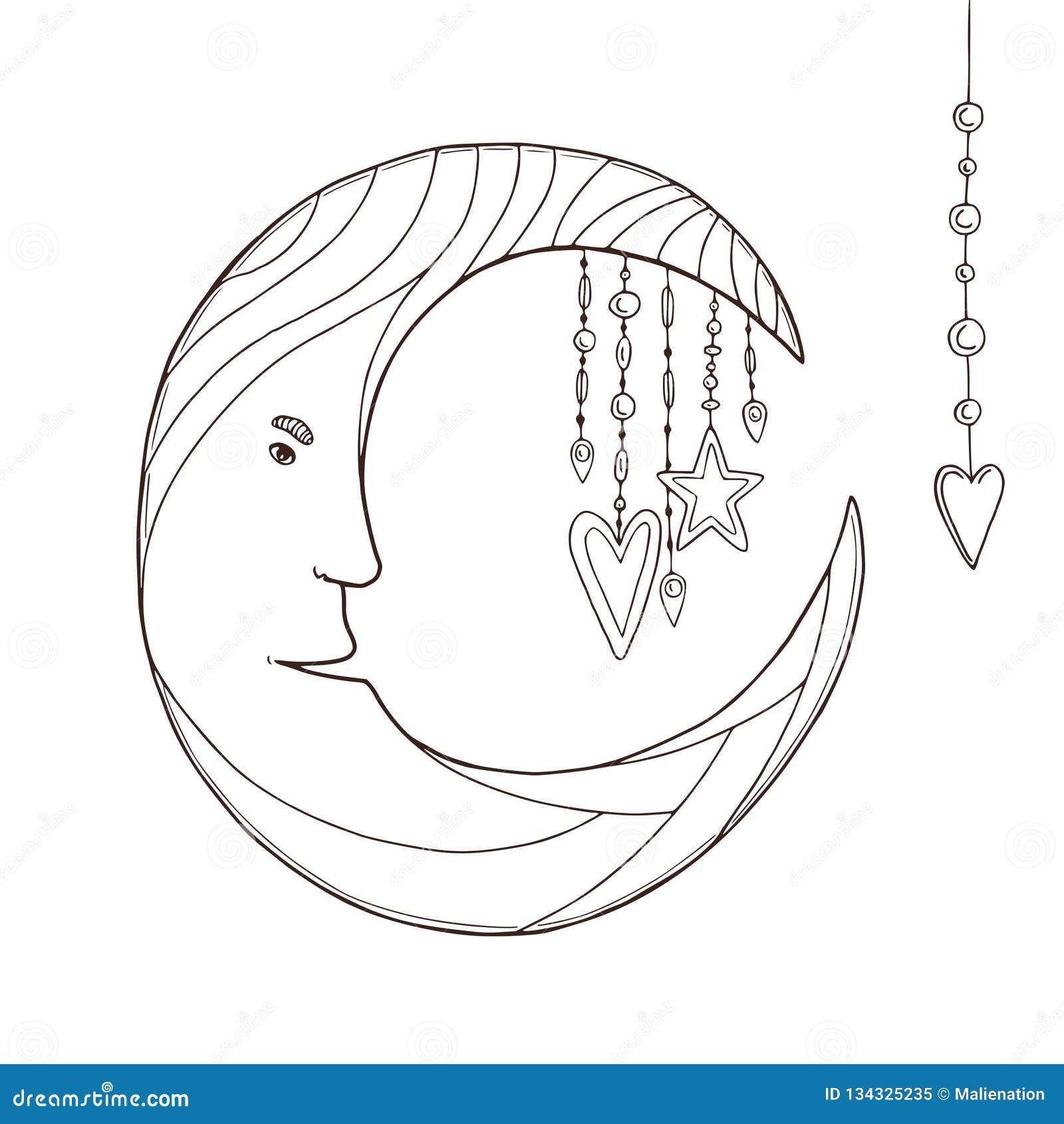 Carácter De La Luna Para El Libro De Colorear De Los Niños