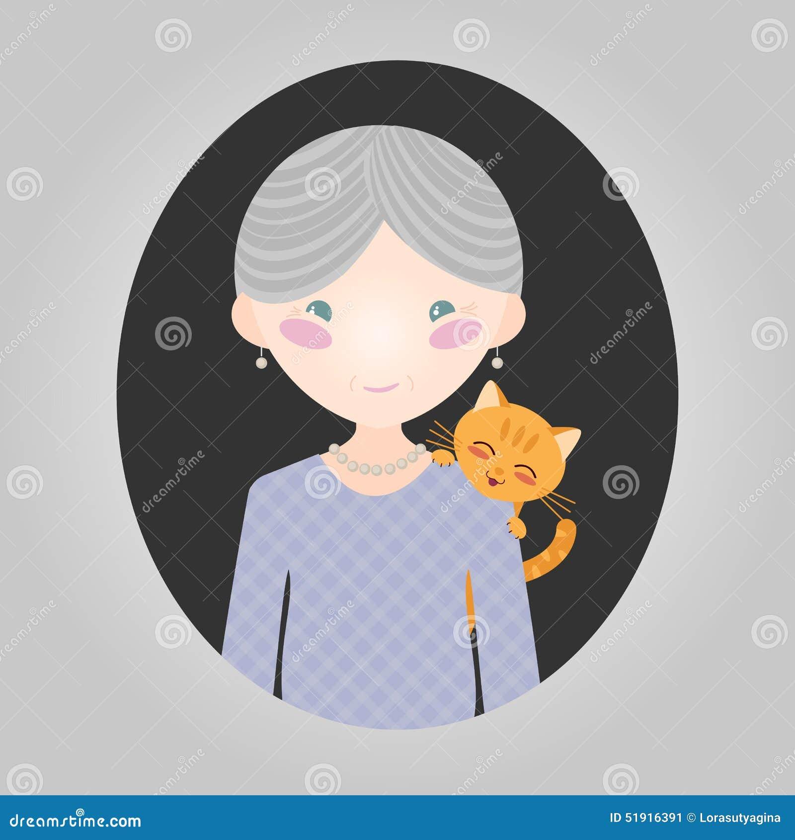 Carácter del amante del gato Personaje de la señora mayor del vector para el sitio o el uso