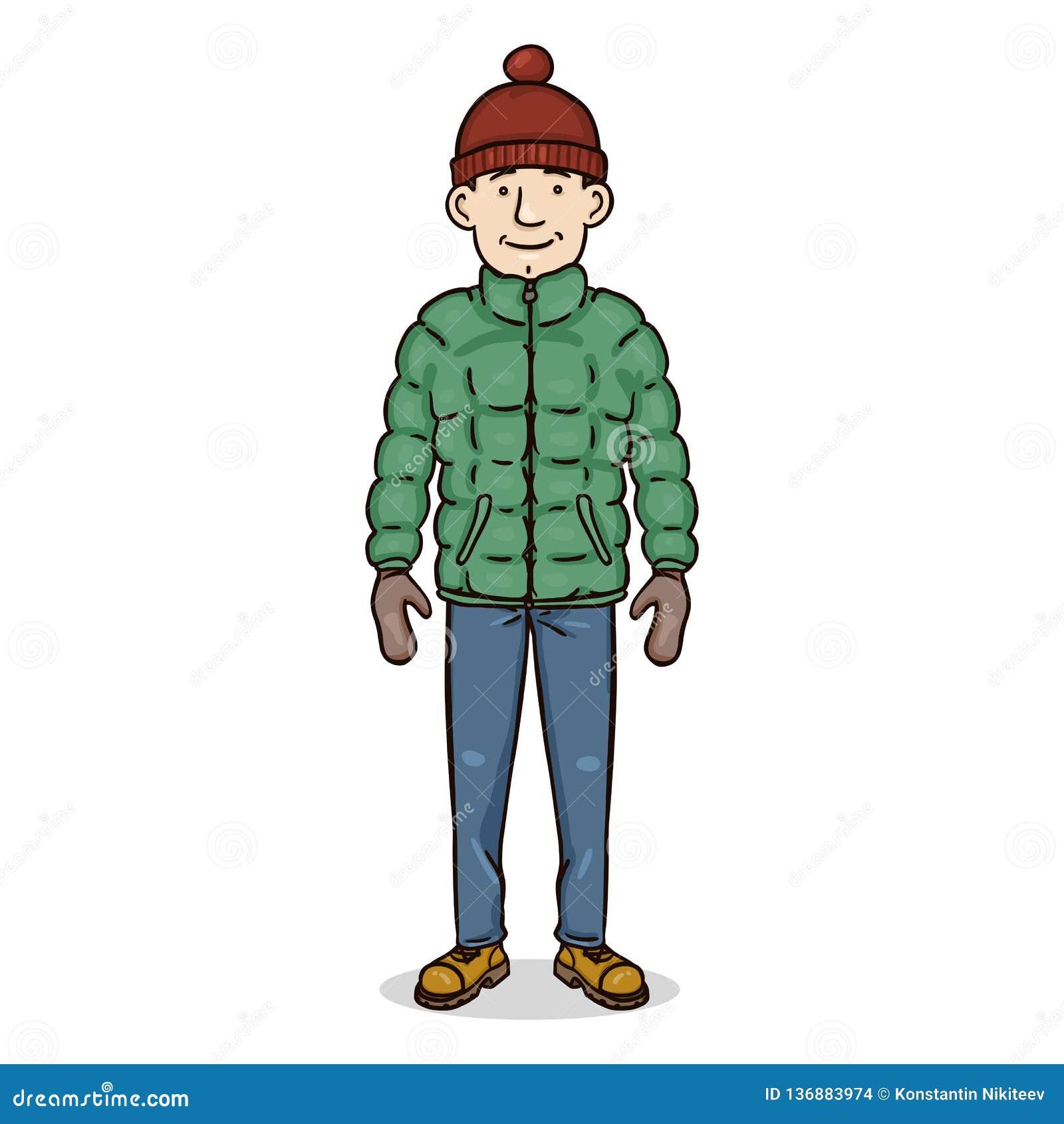 Carácter del color de la historieta del vector - hombre joven en equipo del invierno