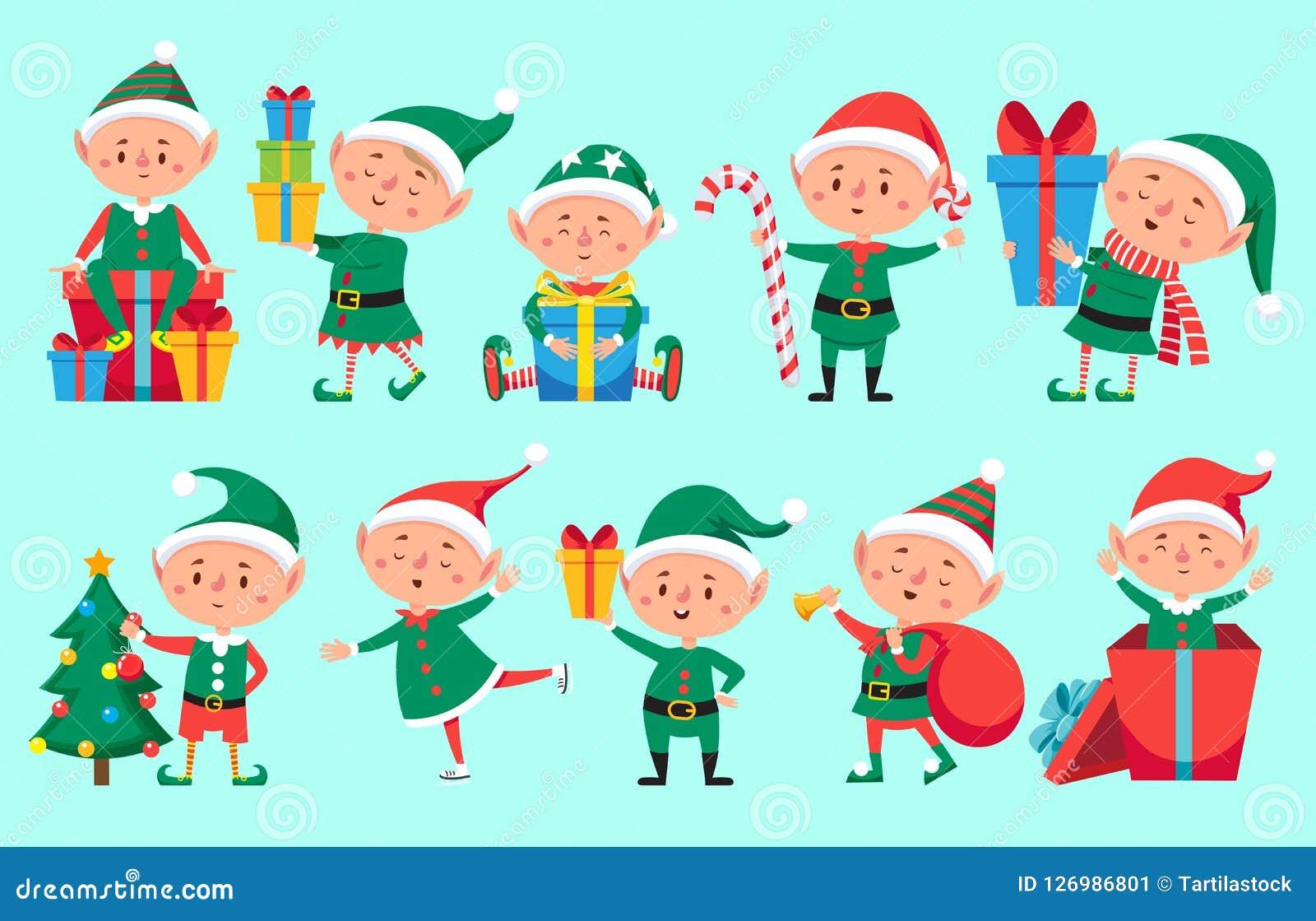 Carácter del duende de la Navidad Duendes lindos de los ayudantes de Santa Claus Sistema divertido del vector de los caracteres d