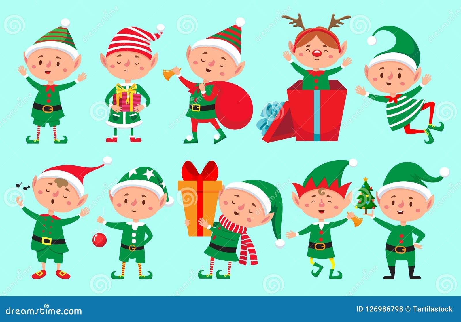Carácter del duende de la Navidad Historieta de los ayudantes de Santa Claus, vector enano lindo de los caracteres de la diversió