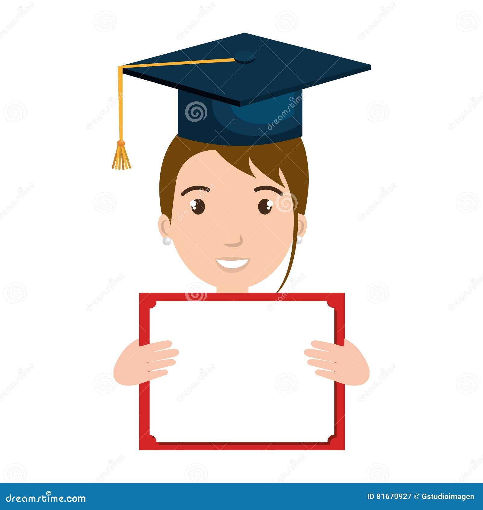 Carácter Del Estudiante Con La Graduación Y El Diploma Del Sombrero ... a2976177b06