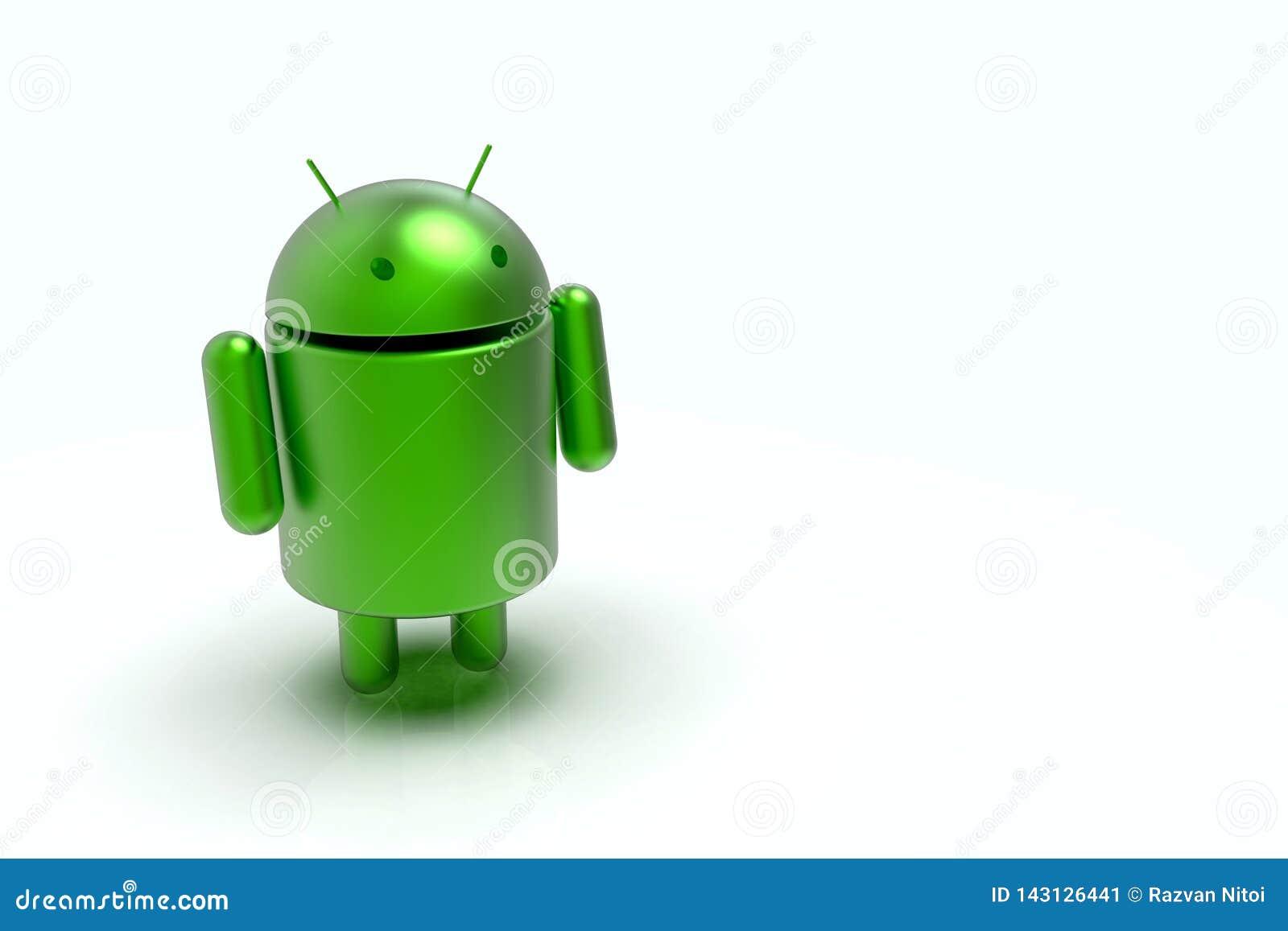 Carácter del robot del logotipo de Android, 3D en fondo ligero
