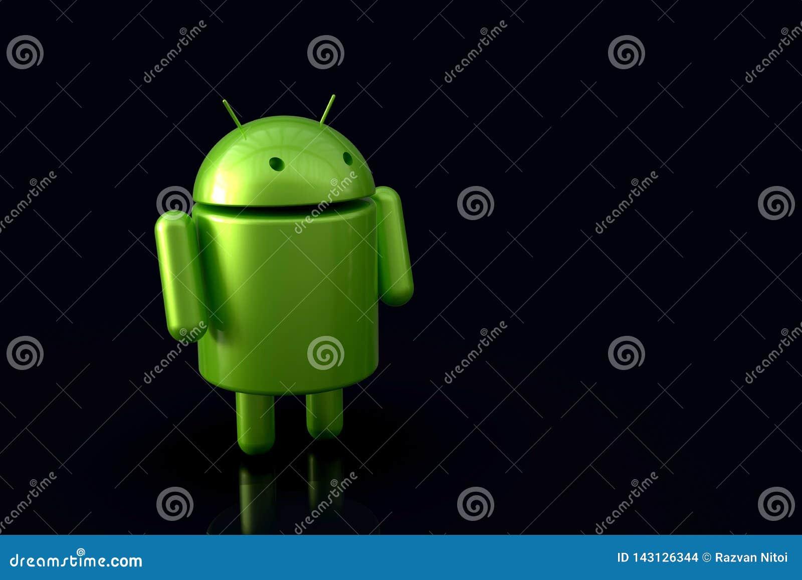 Carácter del robot del logotipo de Android, 3D en fondo oscuro