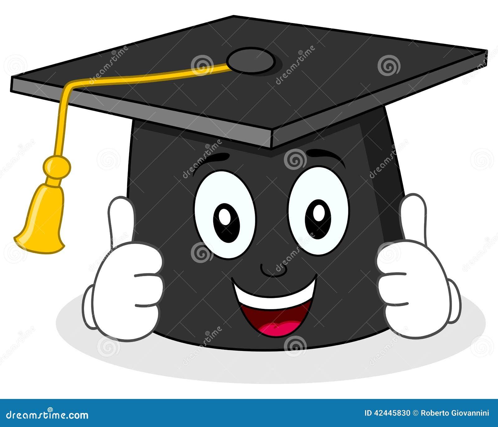 Carácter del sombrero de la graduación con los pulgares para arriba