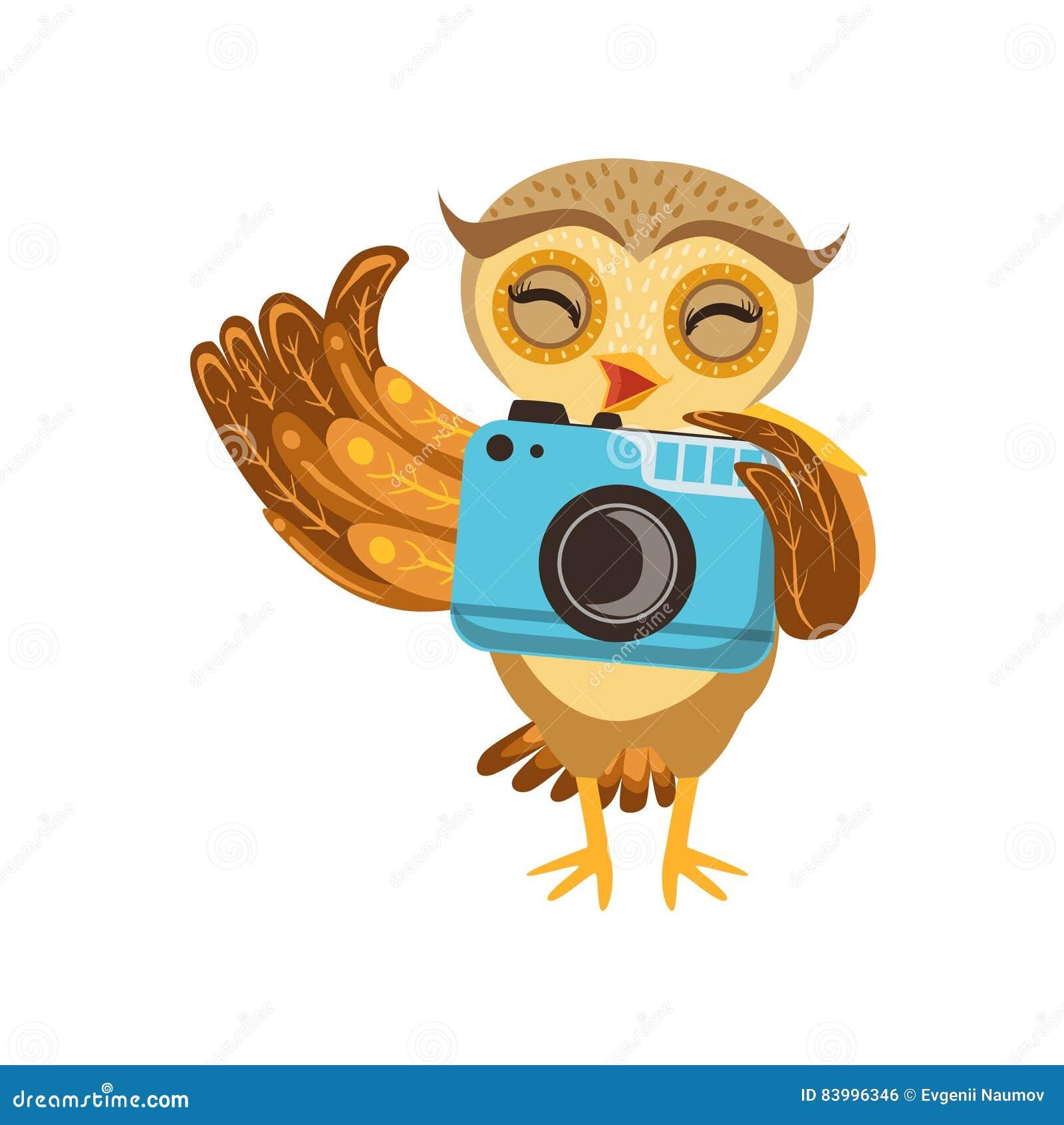 Carácter Emoji de Owl With Camera Cute Cartoon del turista con Forest Bird Showing Human Emotions y comportamiento