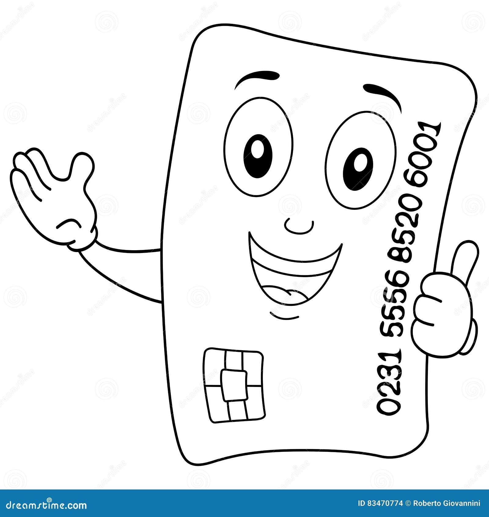 Carácter Feliz De La Tarjeta De Crédito Que Colorea