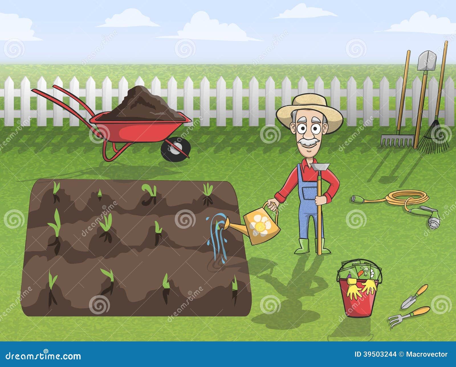 Car cter feliz del jardinero en el trabajo ilustraci n del for Trabajo jardinero