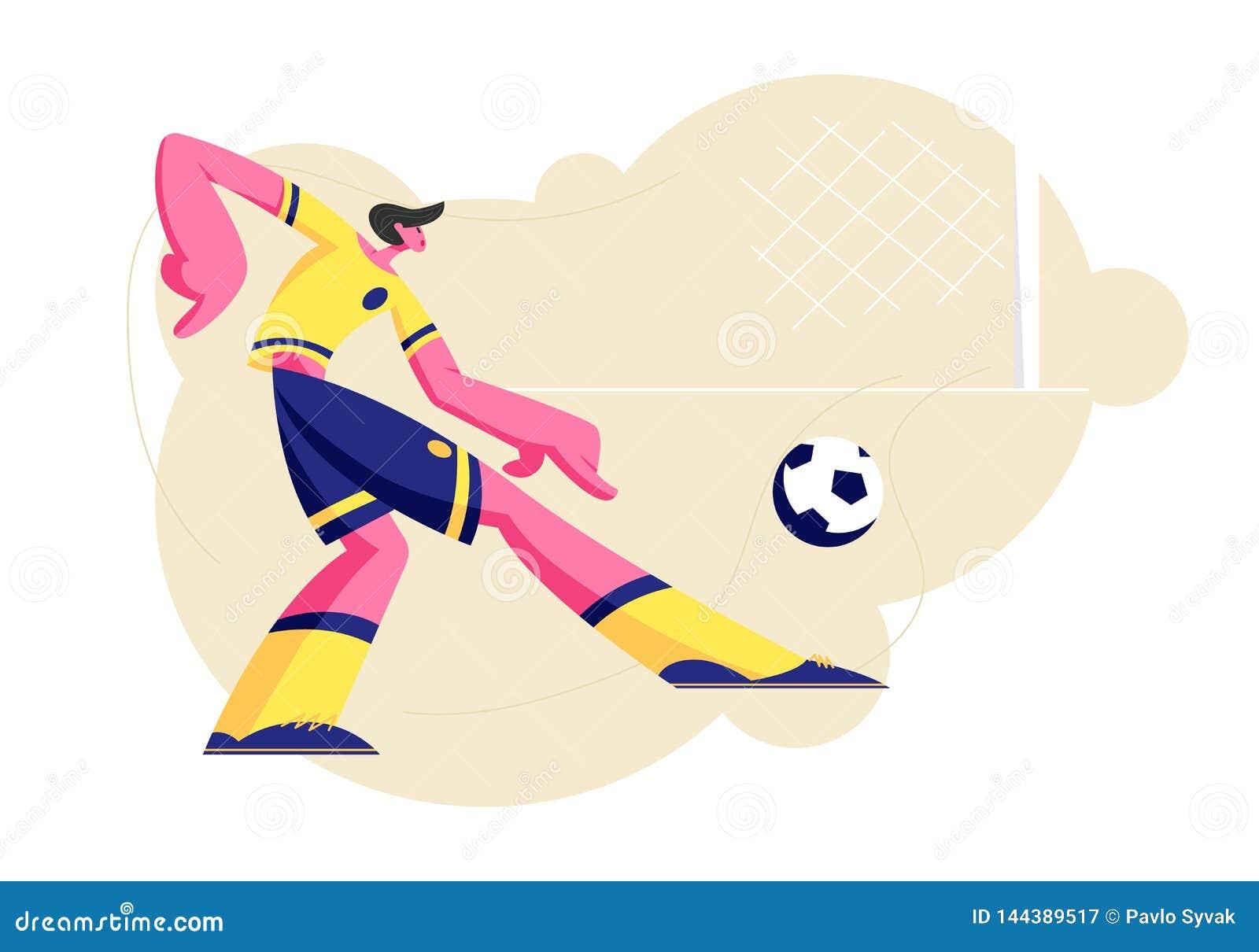 Carácter joven en Team Uniform Kicking Ball, entrenamiento del futbolista del deportista antes de la competencia, torneo de la li