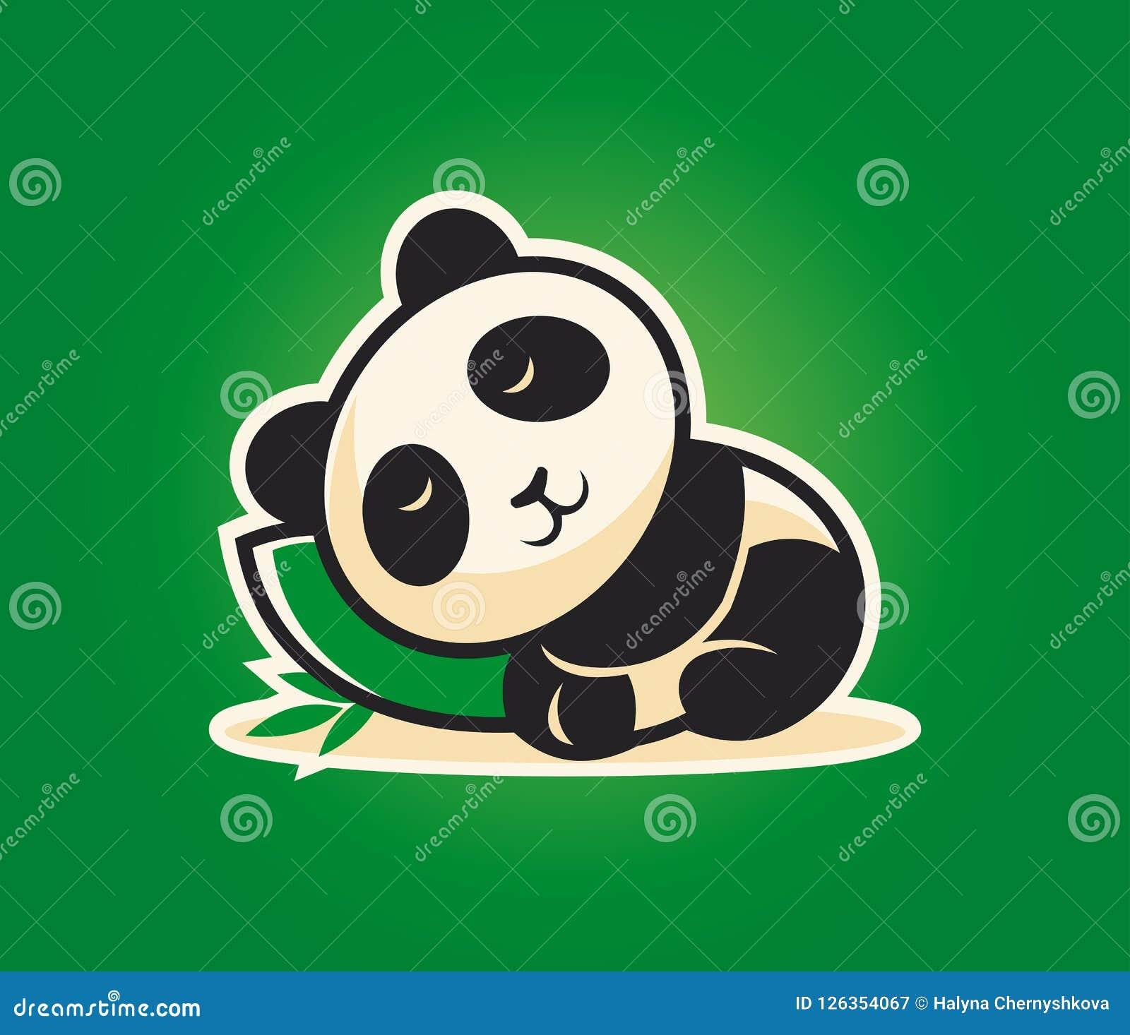 Carácter lindo de la panda que duerme en una almohada