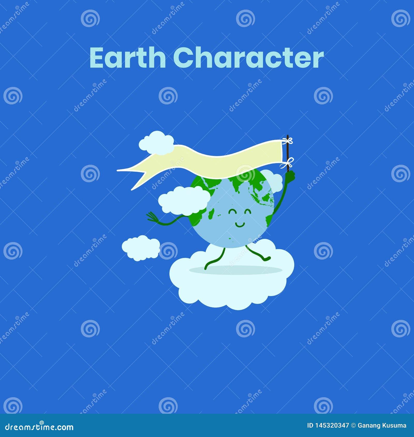 Carácter lindo y divertido de la tierra con la bandera para el Día de la Tierra