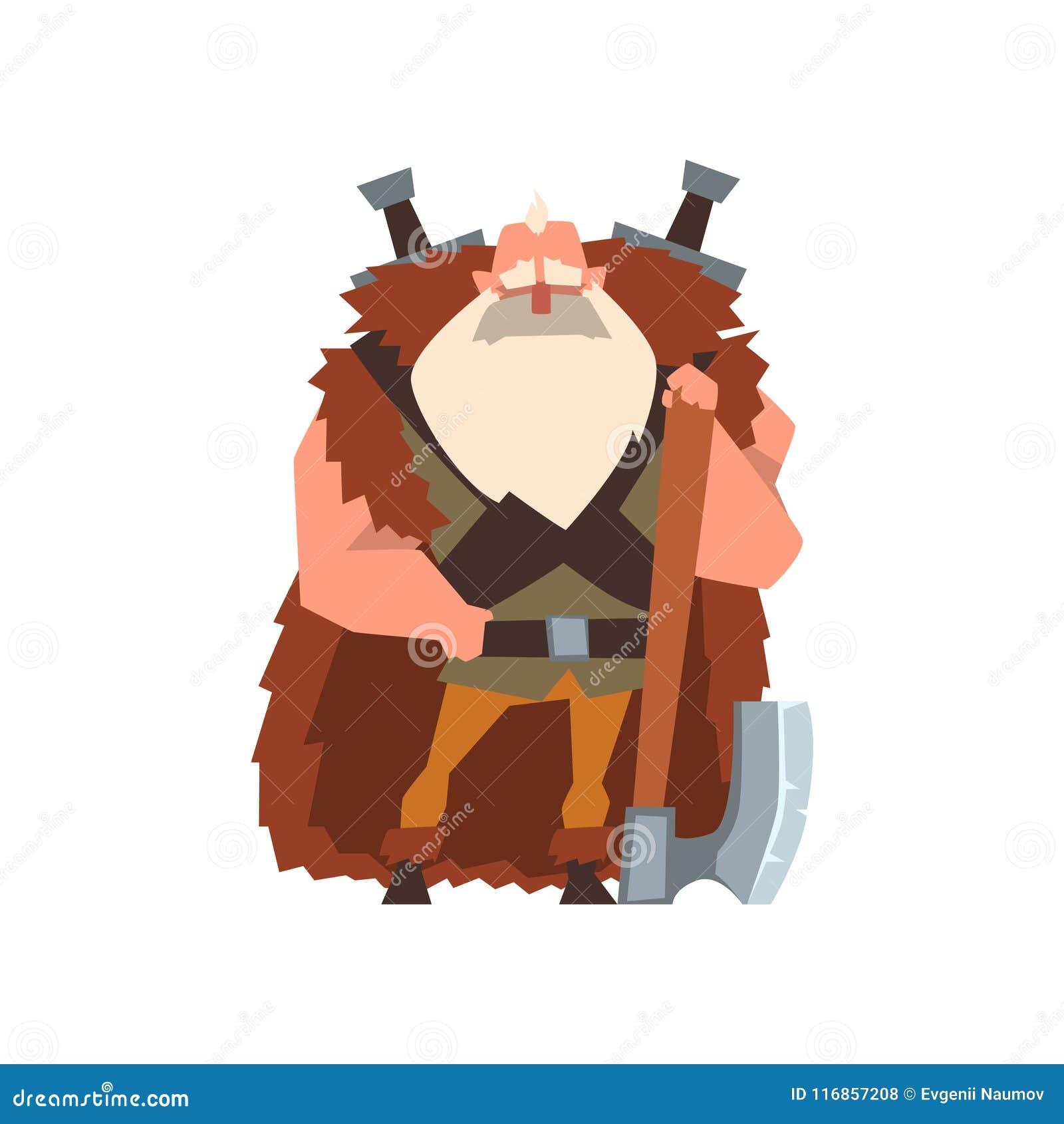 Carácter muscular del guerrero de vikingo en cabo de la piel animal con el ejemplo enorme del vector del hacha en un fondo blanco