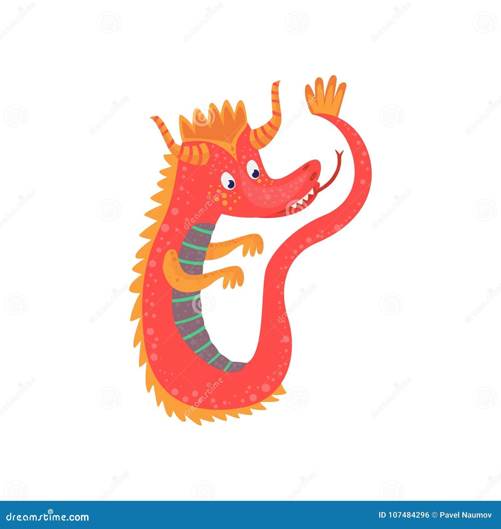 Carácter rojo lindo del dragón del bebé de la historieta, animal mítico, ejemplo del vector del reptil de la fantasía