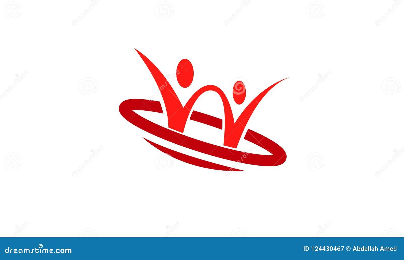Carácter rojo Logo Design Illustration de dos pares