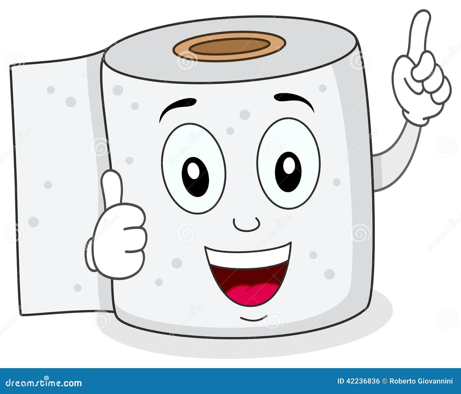 Car cter sonriente alegre del papel higi nico ilustraci n - Papel para bano ...