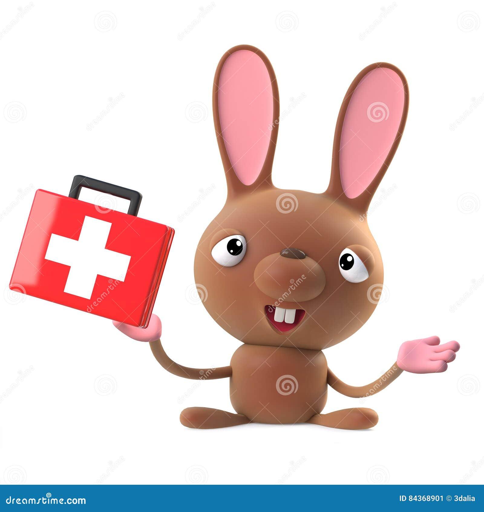0c727cb80 3d rendem de um caráter bonito do coelho de coelhinho da Páscoa dos  desenhos animados que guarda um kit de primeiros socorros