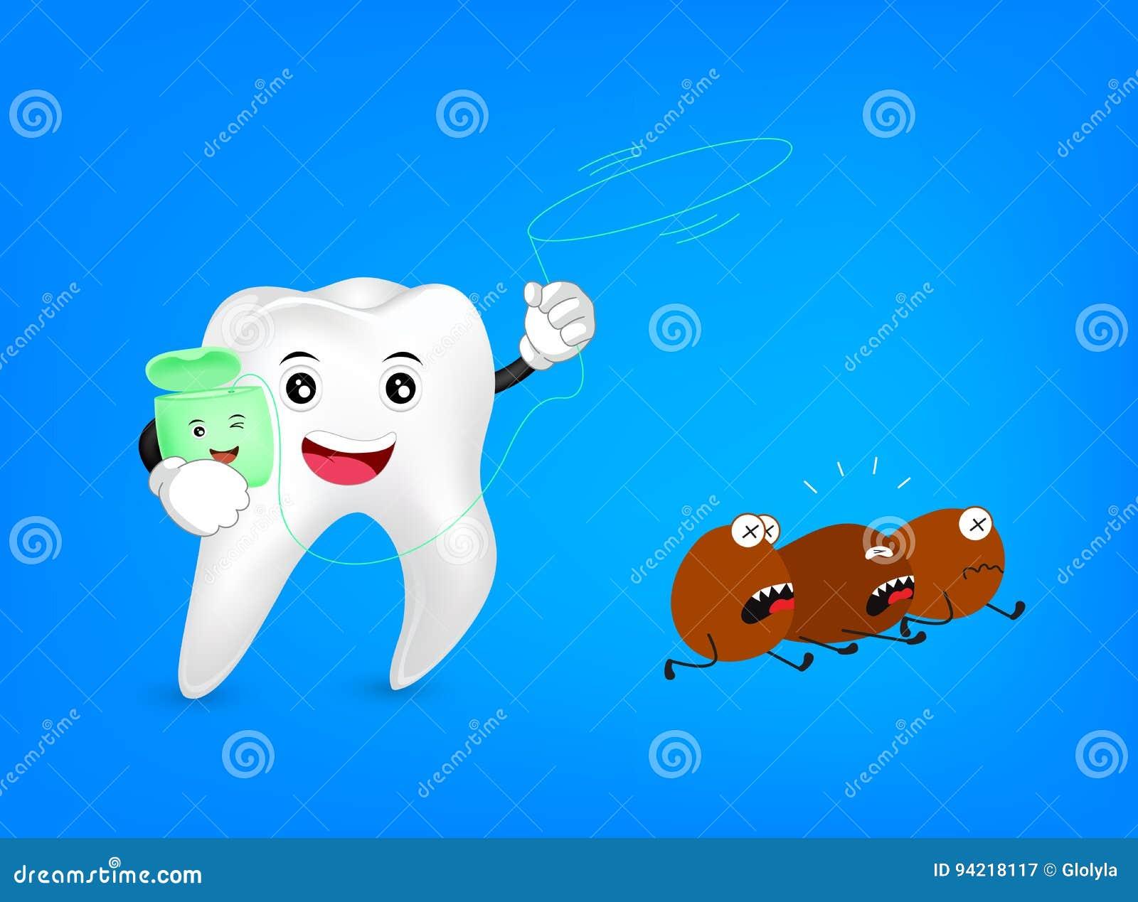 5ea3027fb Caráter Bonito Do Dente Dos Desenhos Animados Com Laço Do Fio Dental ...