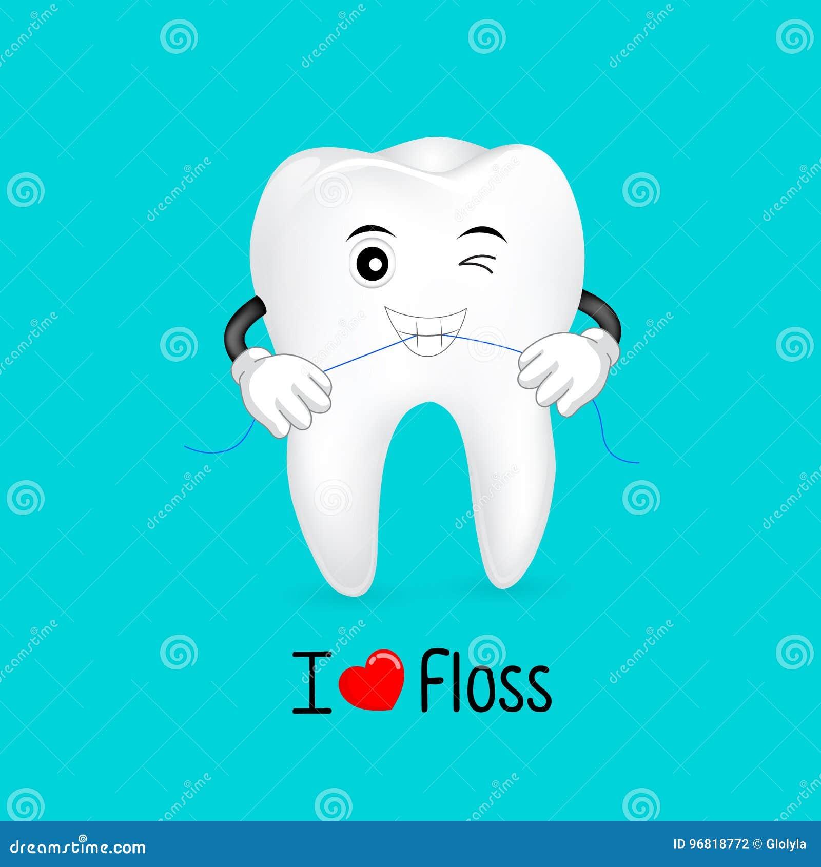 9aece27d3 Caráter Bonito Do Dente Dos Desenhos Animados Que Usa O Fio Dental ...