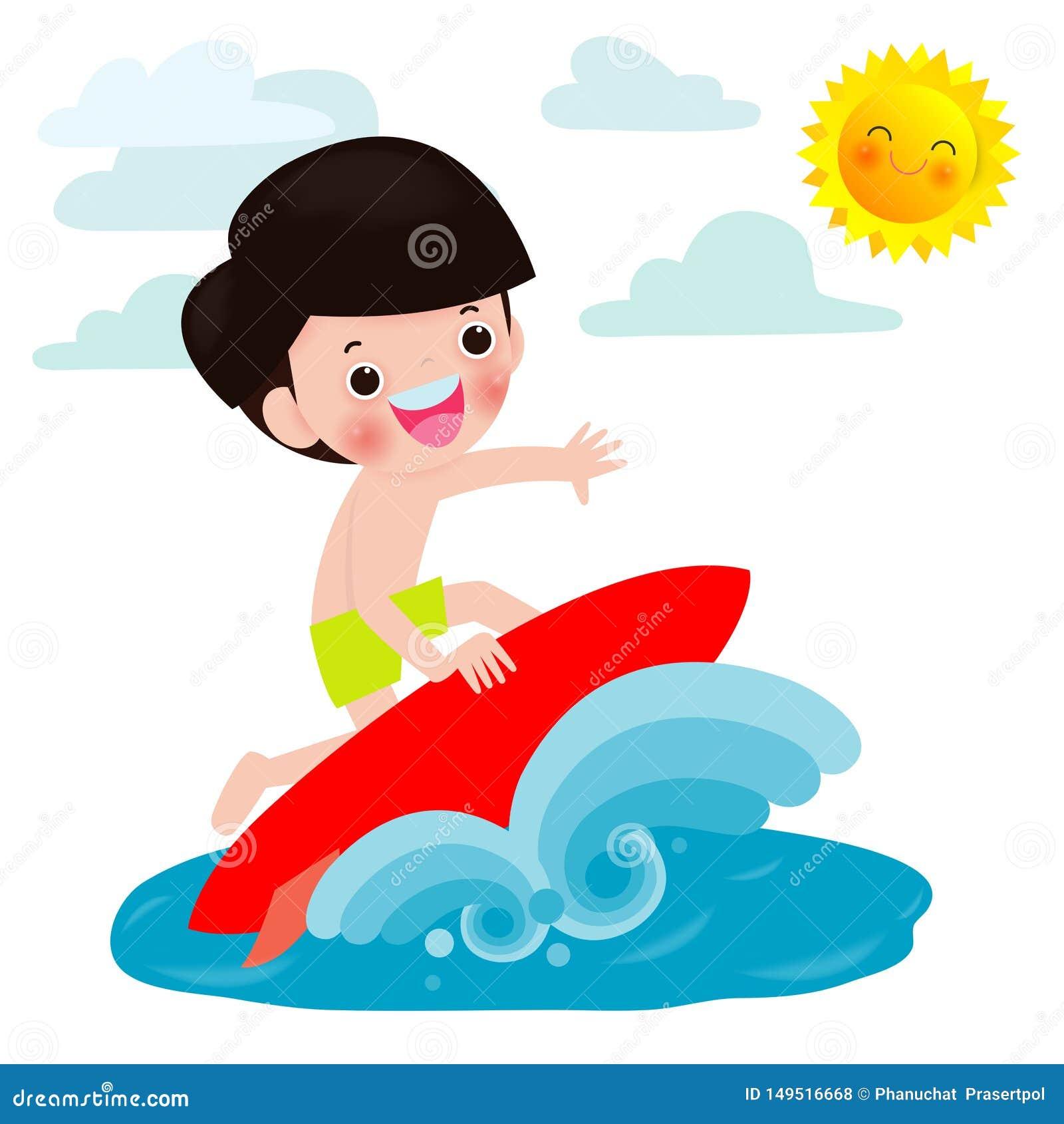 Caráter bonito do menino do surfista com prancha e equitação na onda de oceano Indivíduo novo feliz na onda da crista, vetor liso