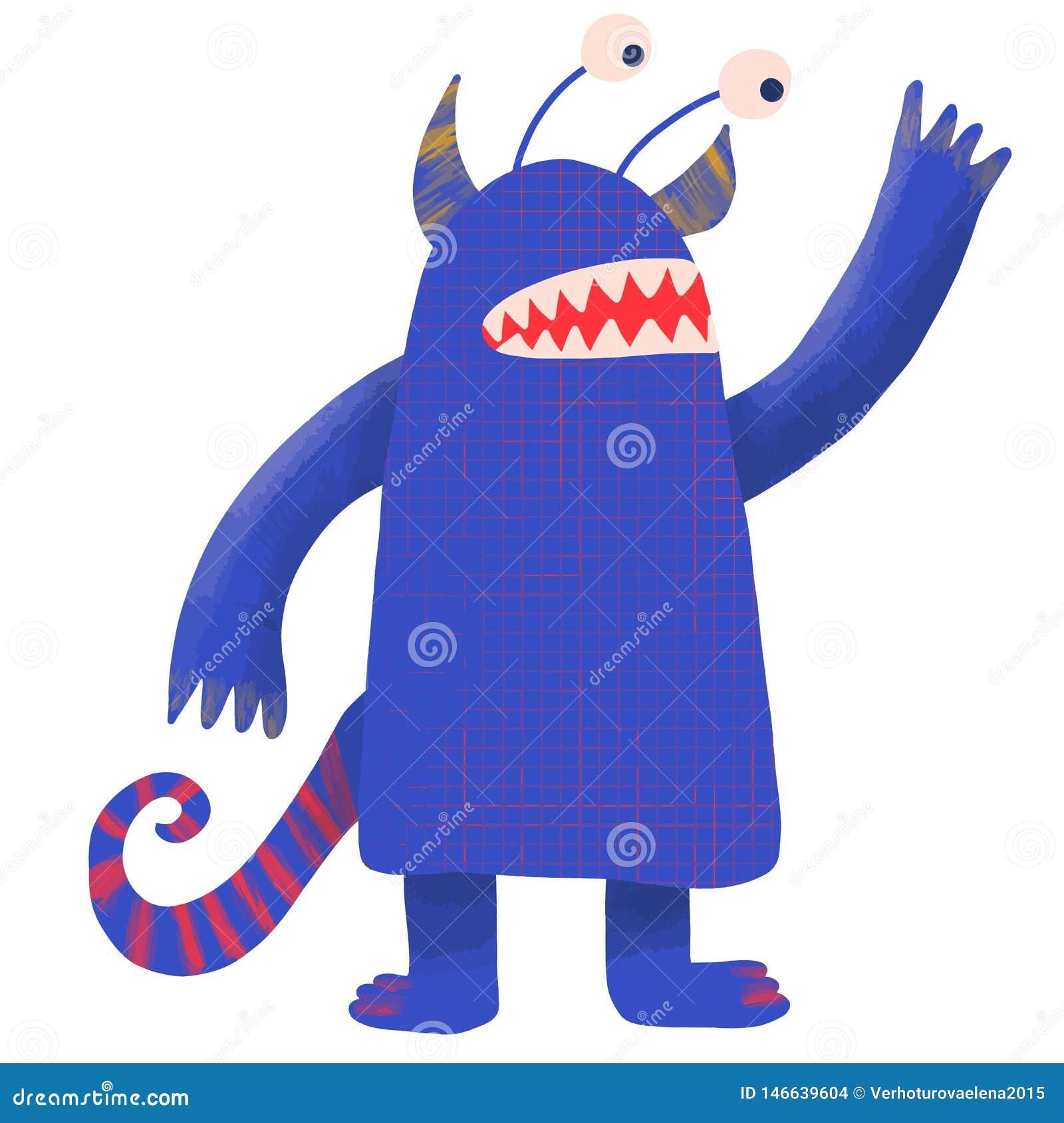 Caráter da fantasia para o projeto do papel de parede Vetor fresco da aquarela do projeto do vetor do monstro Fundo azul da cor p