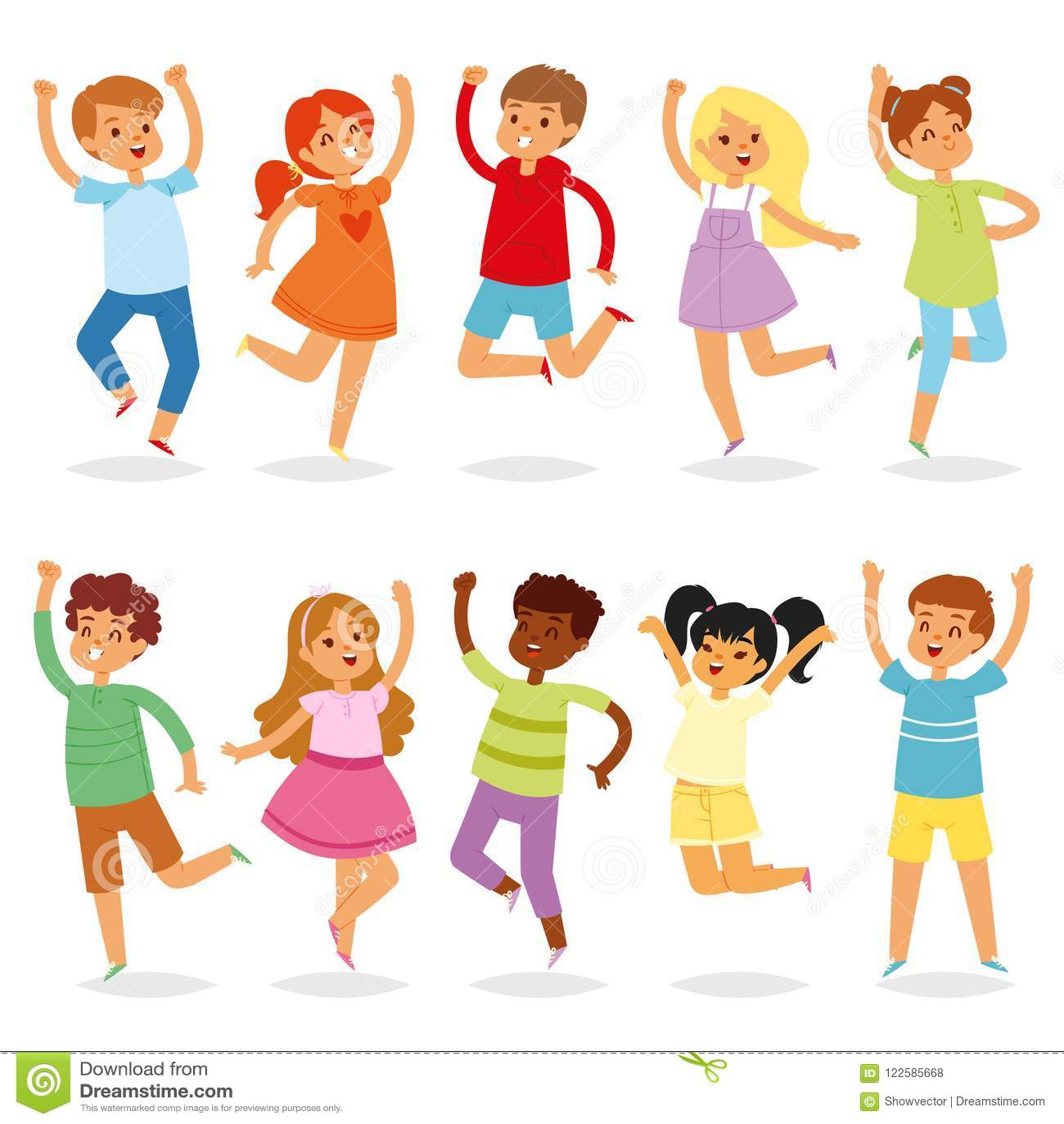 Caráter de salto da criança de Yong do vetor das crianças na atividade do salto no grupo da ilustração da infância de crianças br
