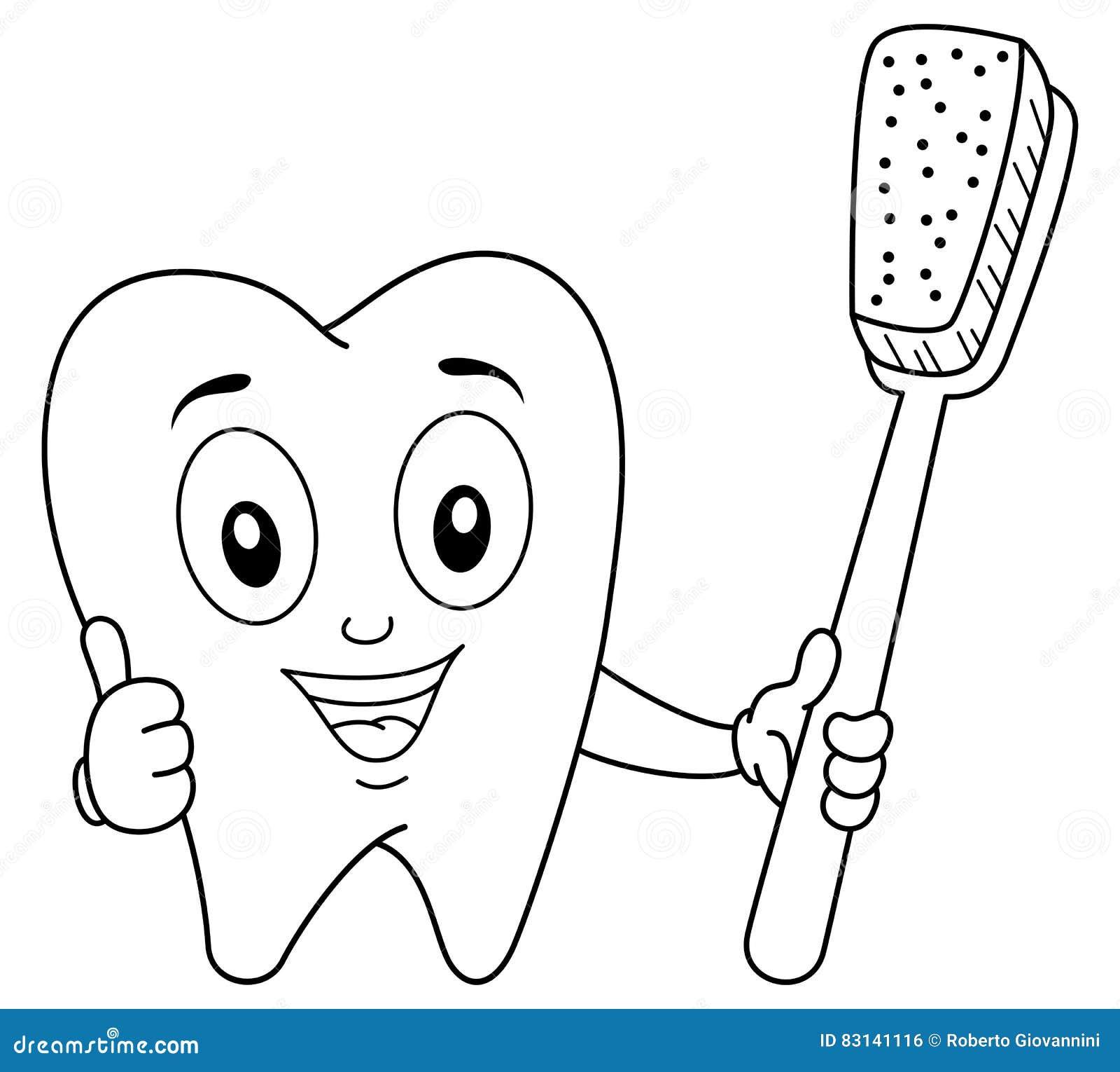 Carater Do Dente Da Coloracao Com Escova De Dentes Ilustracao Do