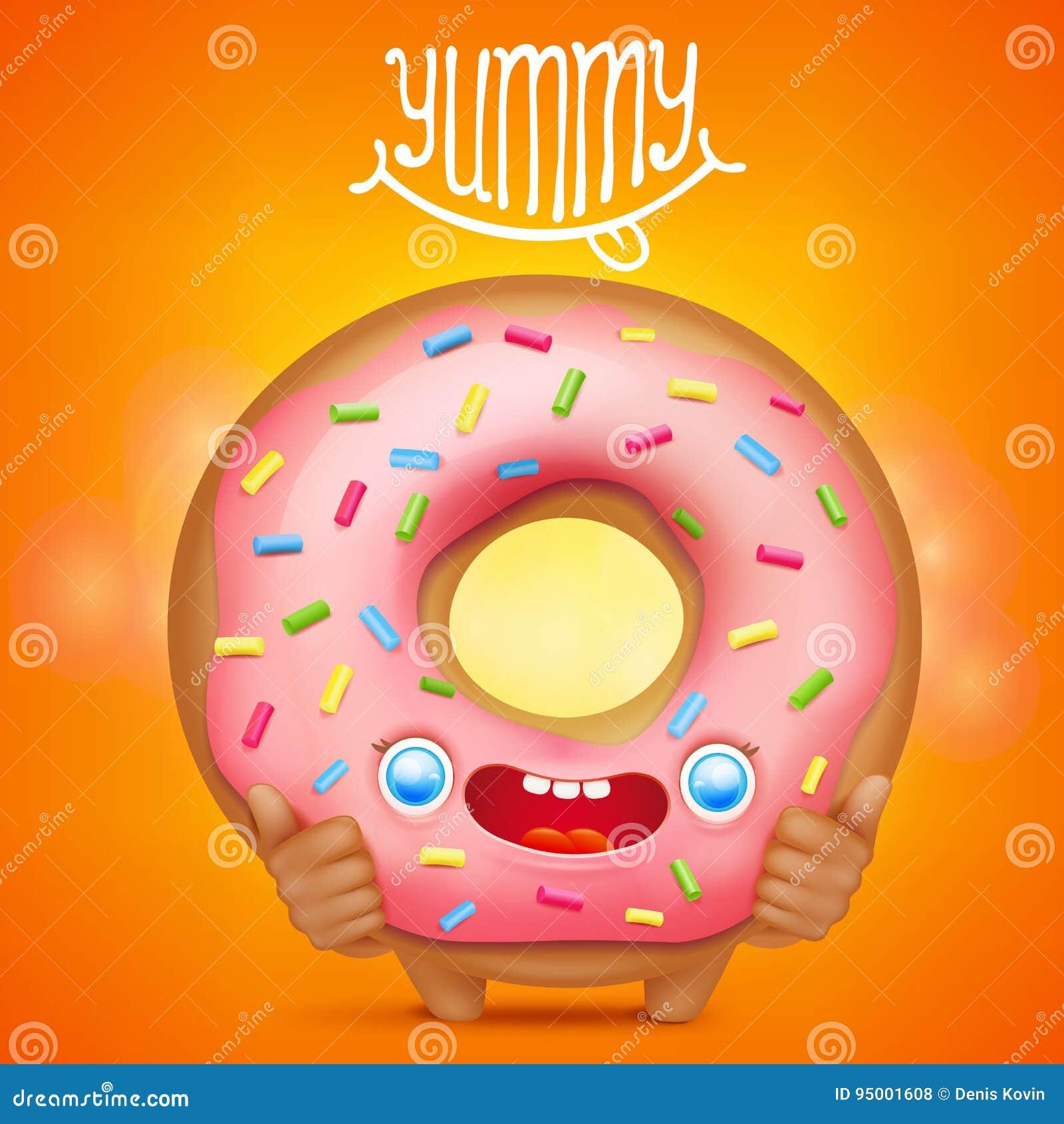Caráter do emoticon dos desenhos animados da filhós com título saboroso