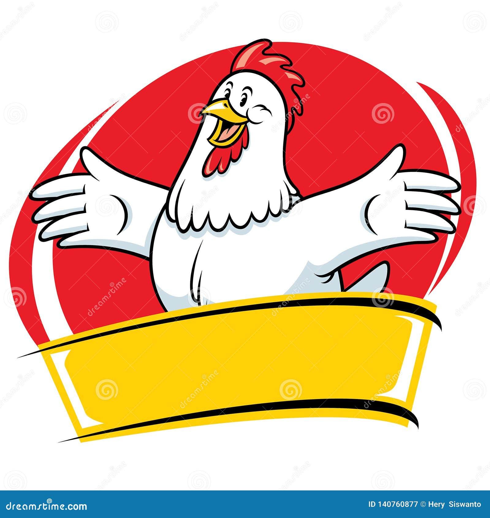 Caráter do estilo da mascote dos desenhos animados da galinha