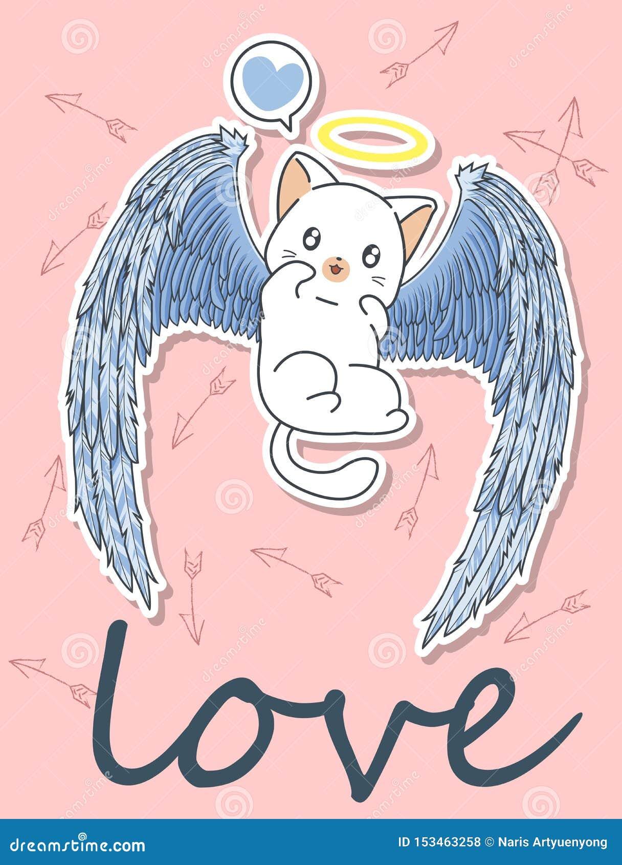Caráter do gato do cupido de Kawaii com fundo da seta