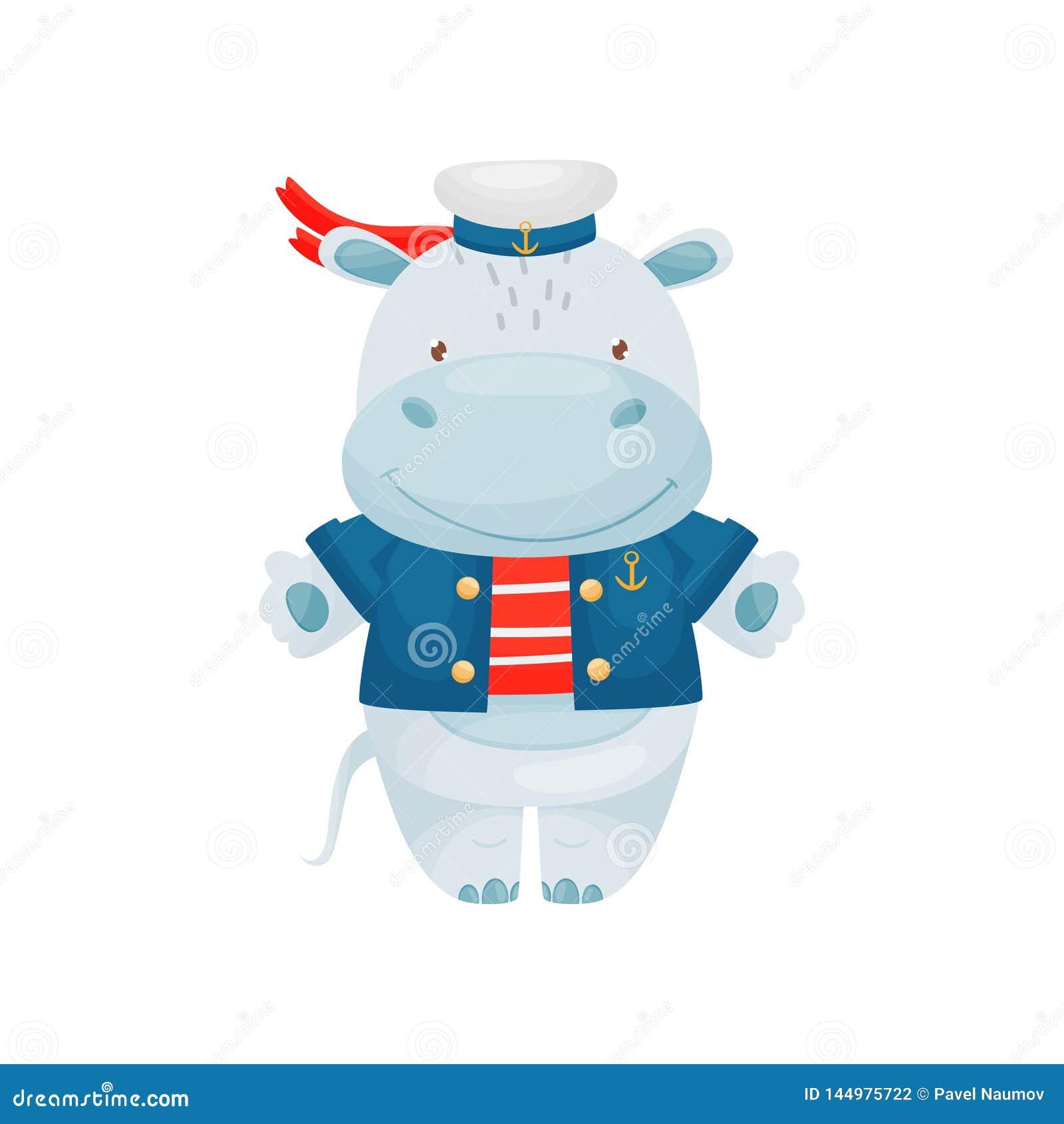 Car?ter do marinheiro do hipop?tamo em um estilo dos desenhos animados, em uma veste vermelho-branca, em um tamp?o peakless, em u