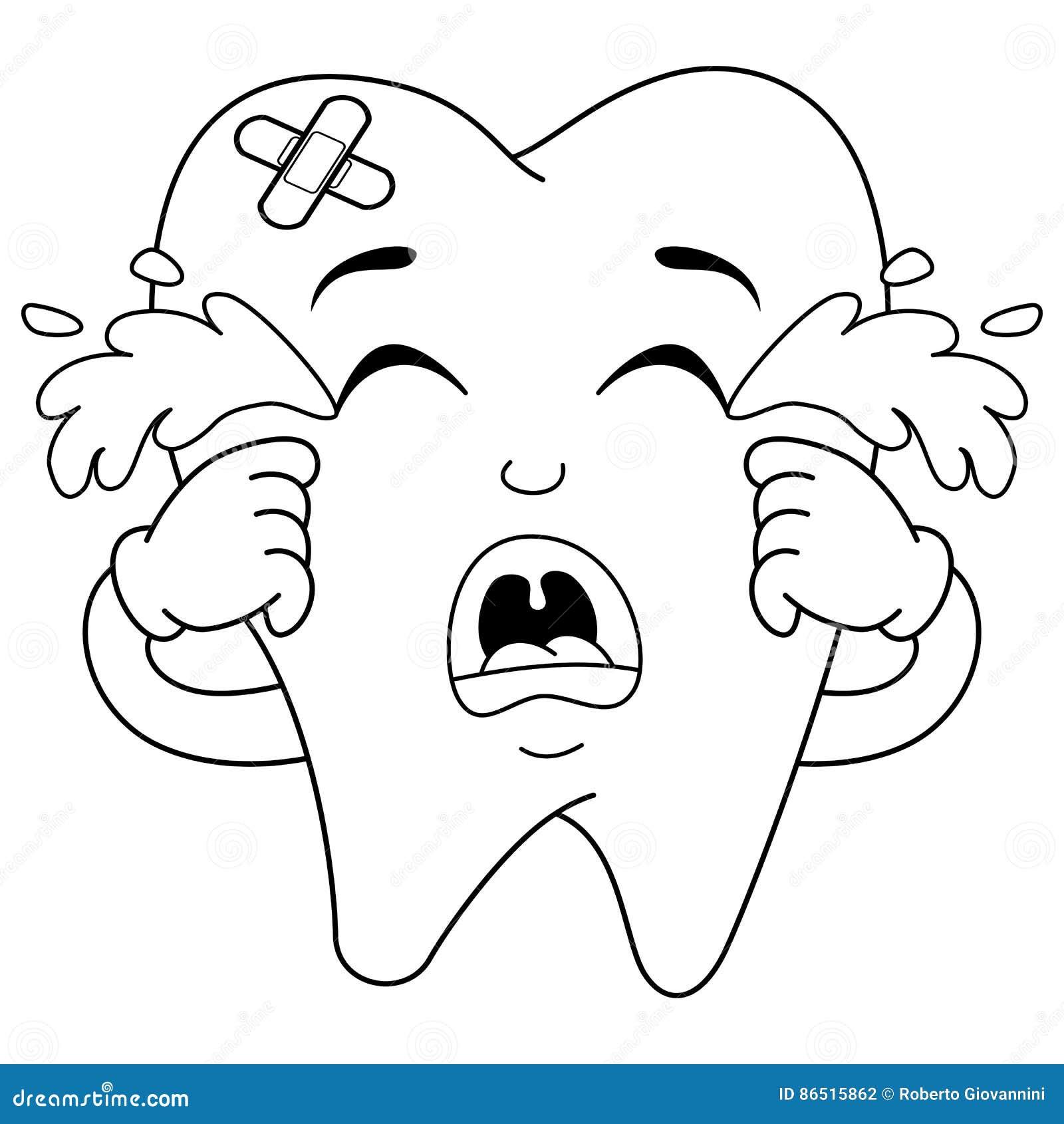 Caráter Doente De Grito Triste Colorindo Do Dente Ilustração