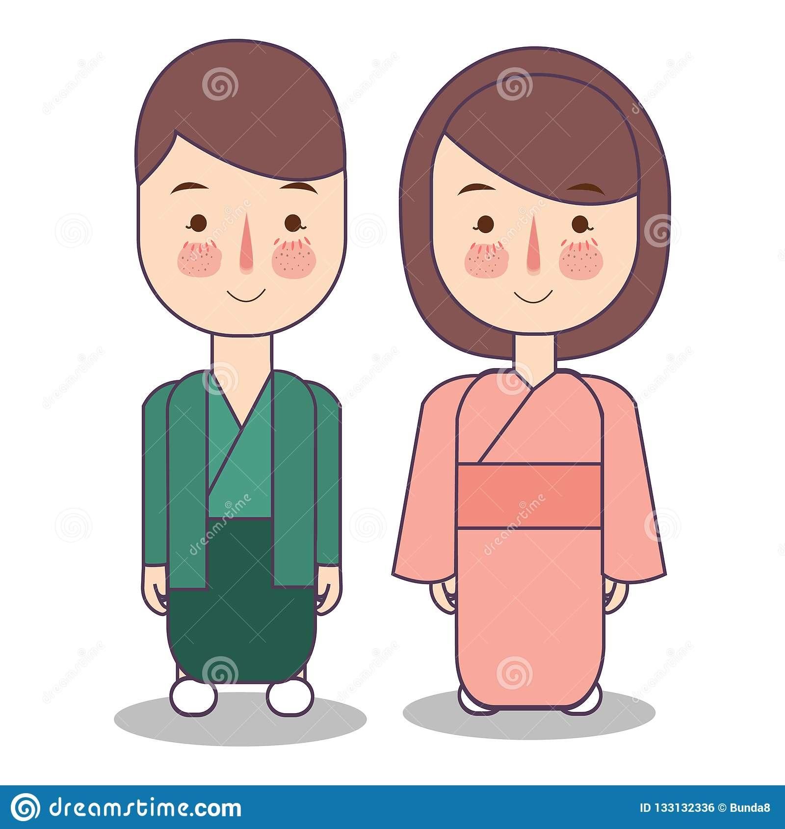 Caráter Dos Povos Da Mulher Do Homem De Japão Roupa
