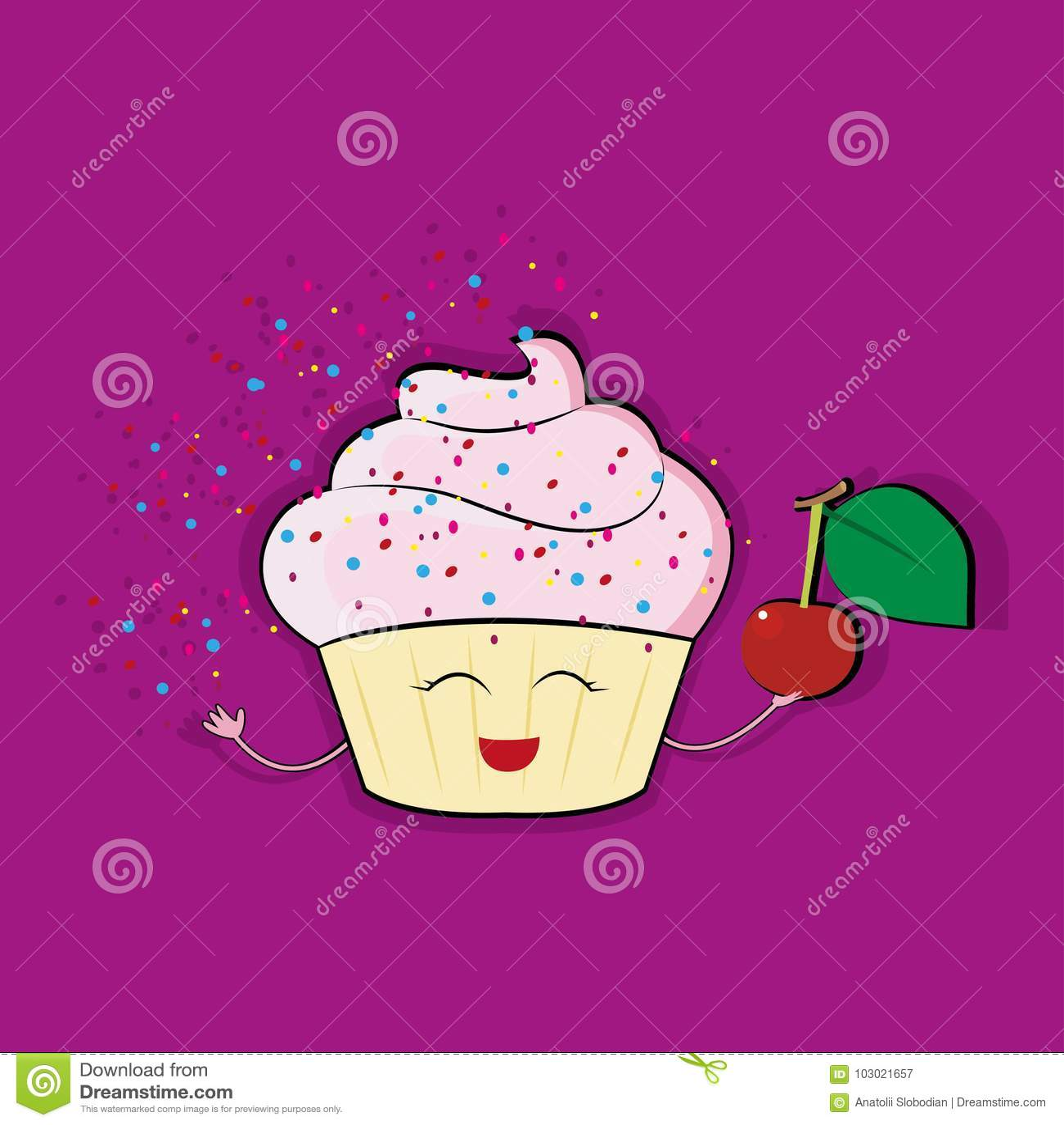 Caráter engraçado do queque com cobertura de creme cor-de-rosa, ilustração do vetor do estilo dos desenhos animados isolada no fu