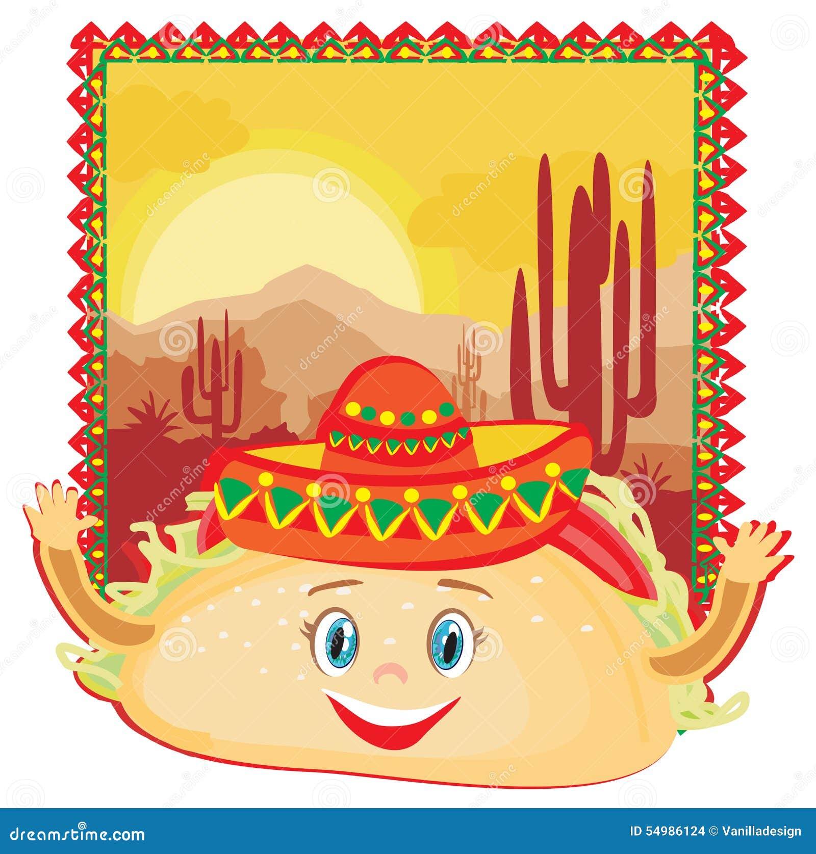 Caráter engraçado dos tacos, cartão mexicano do quadro