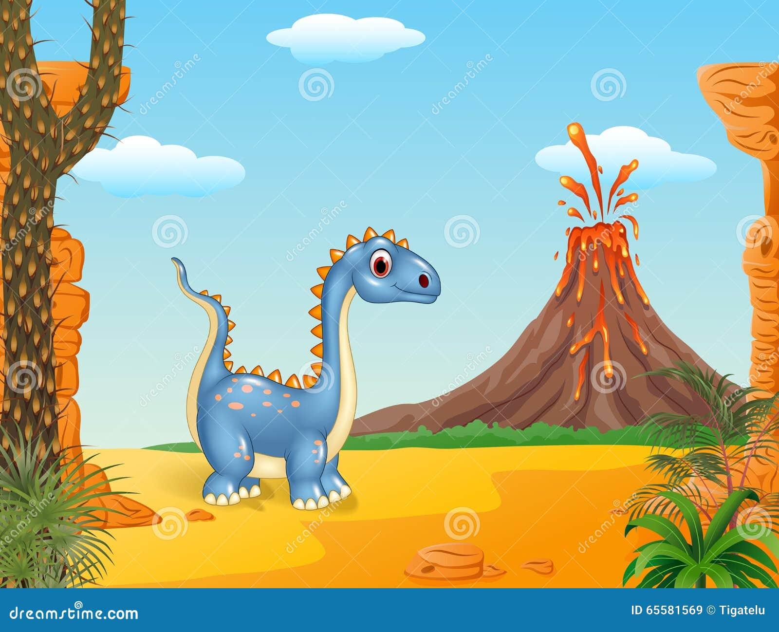 Caráter feliz do dinossauro no fundo pré-histórico