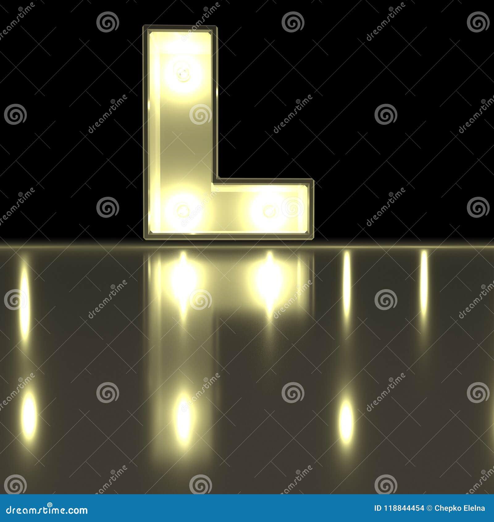 Caráter L fonte com reflexão Alph de incandescência da letra da ampola