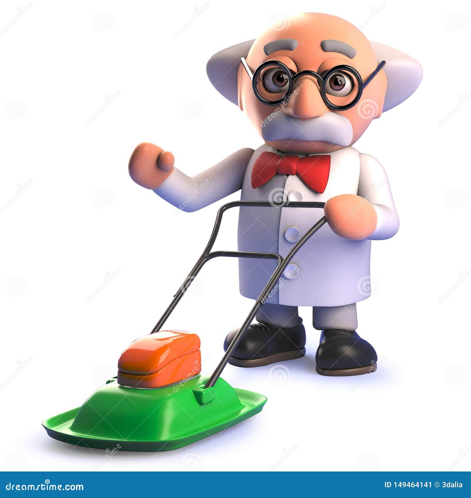 Caráter louco do cientista dos desenhos animados 3d que usa um cortador de grama do pairo