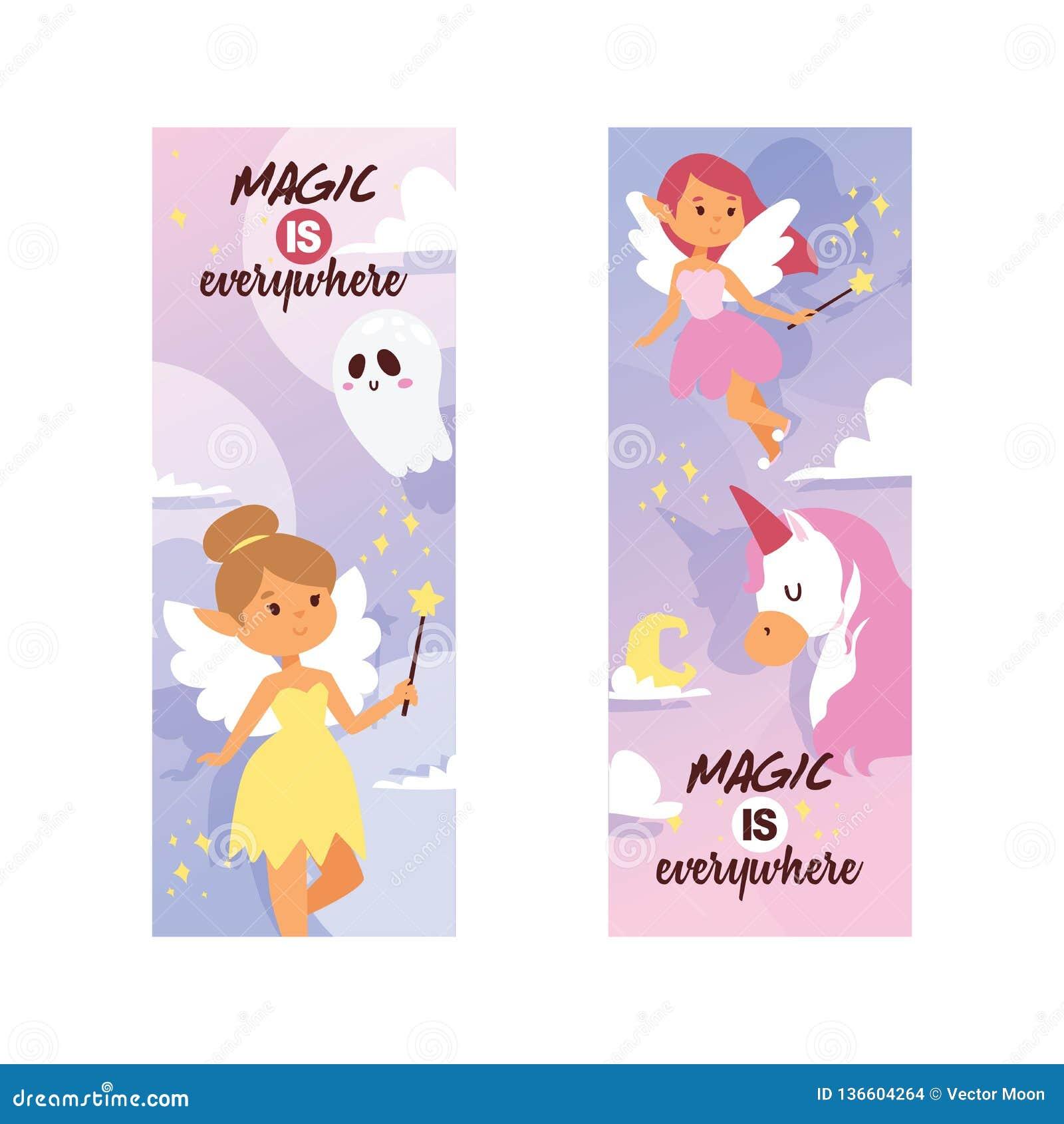 Caráter mágico do país das fadas do vetor feericamente da menina e unicórnio bonito dos desenhos animados da princesa da fantasia