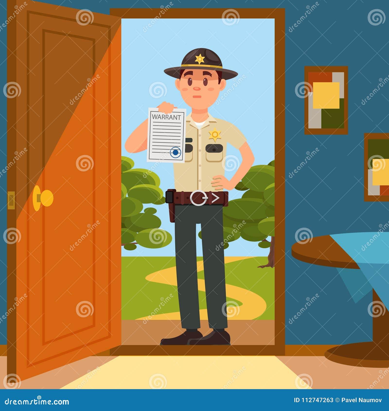 Caráter masculino do agente da polícia do xerife da cidade no uniforme oficial que está na entrada da casa e que mostra a autoriz