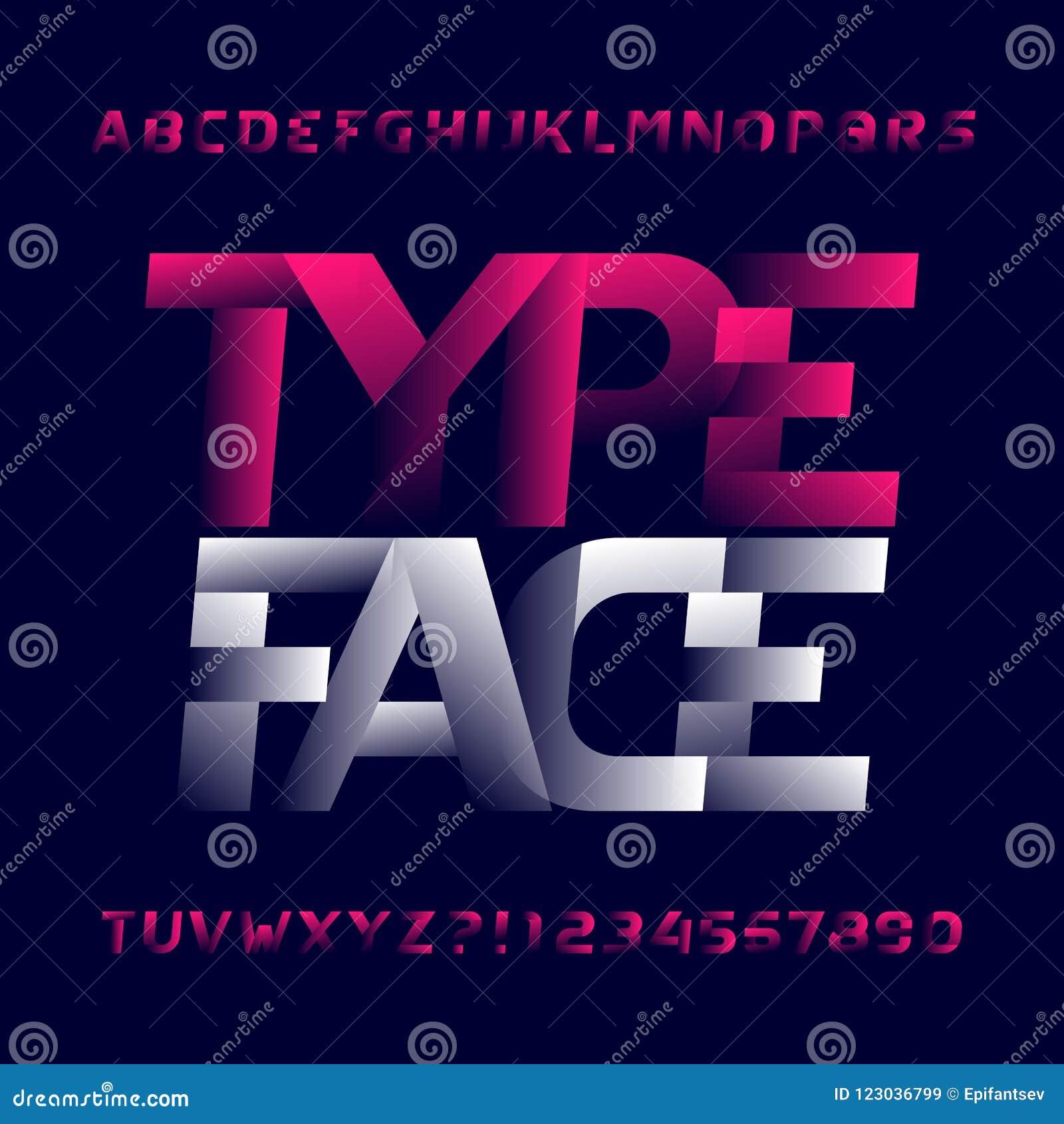 faa5384c6 Caráter tipo abstrato do alfabeto Letras e números modernos de caixa do estilo  Fonte de vetor para seu projeto da tipografia