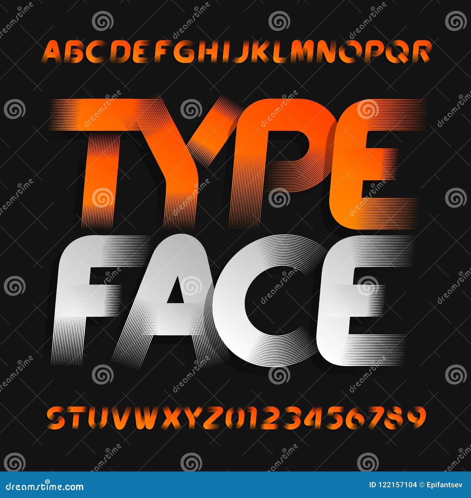 b9bf5f0c6 Caráter tipo abstrato do alfabeto Letras oblíquas e números do estilo  moderno Fonte de vetor para seu projeto da tipografia