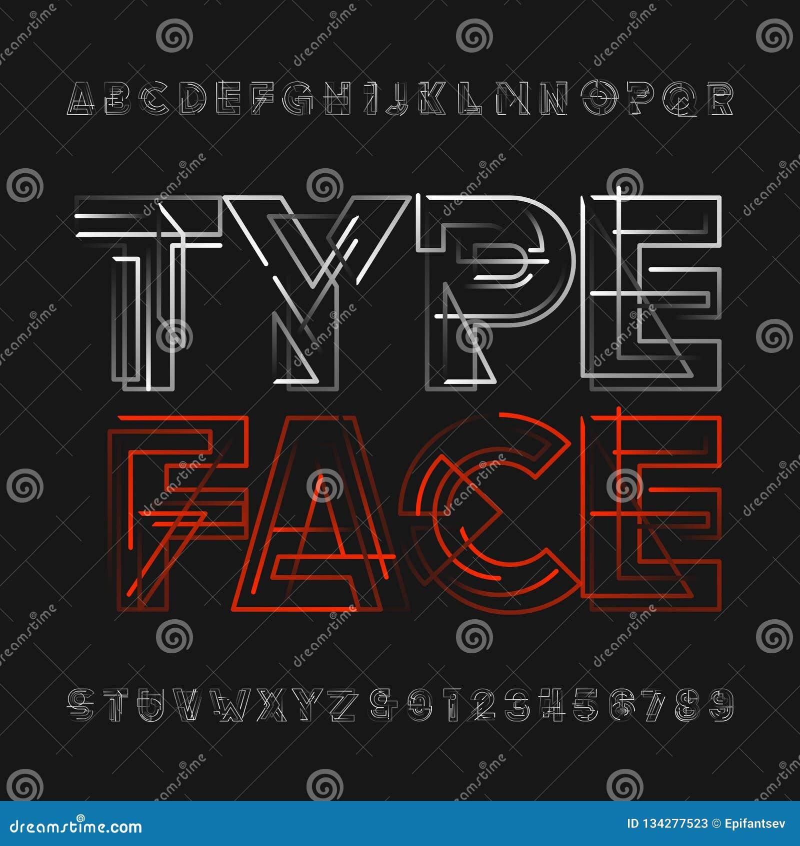 0c1178942 Caráter tipo geométrico abstrato do alfabeto Letras futuristas e números  Fonte de vetor para seu projeto da tipografia Mudança fácil da cor