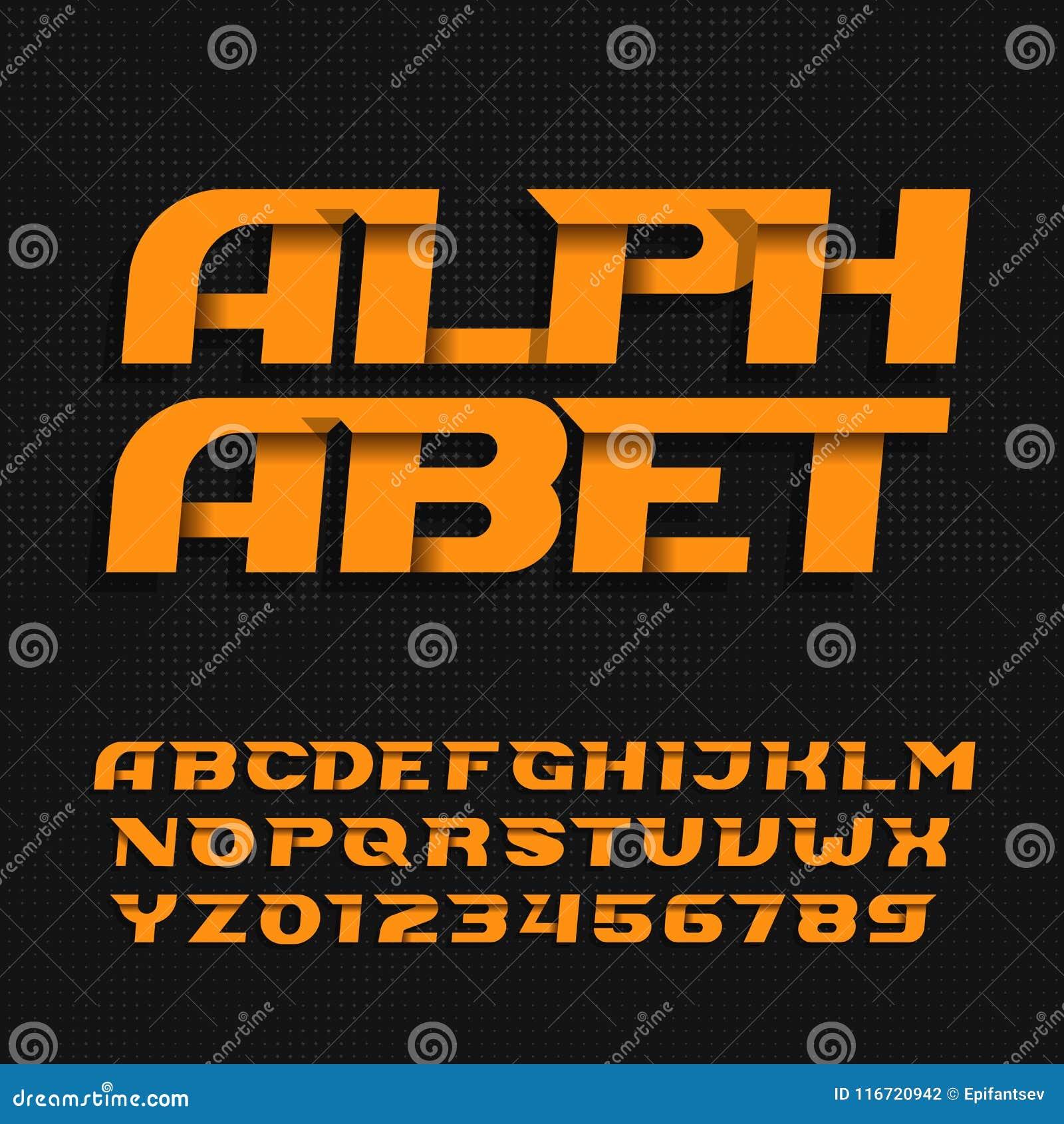 298437d41 Caráter tipo moderno abstrato do alfabeto Tipo decorativo letras e números  no fundo pontilhado Fonte de vetor para seu projeto
