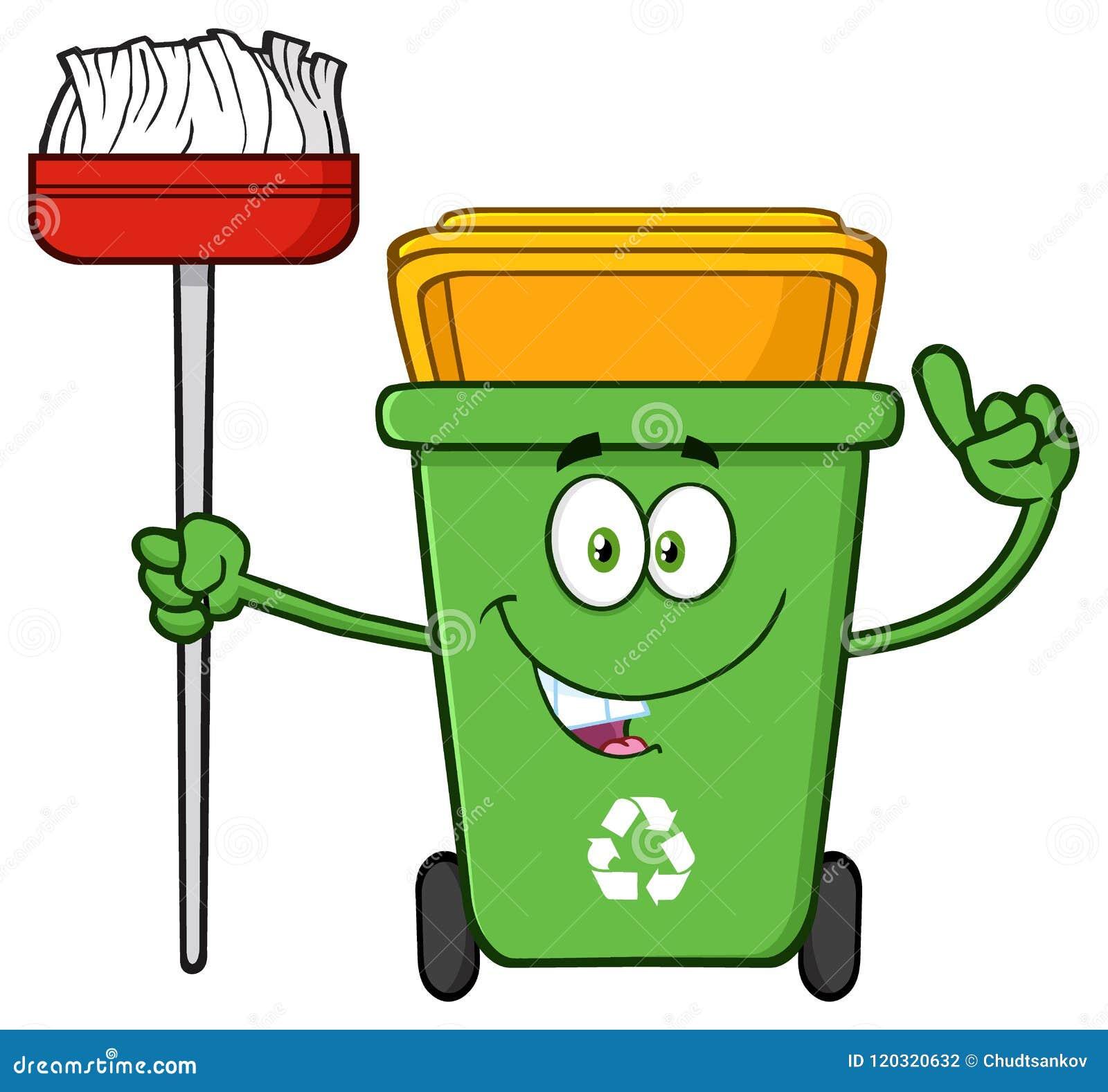 Carater Verde De Fala Da Mascote Dos Desenhos Animados Da Reciclagem