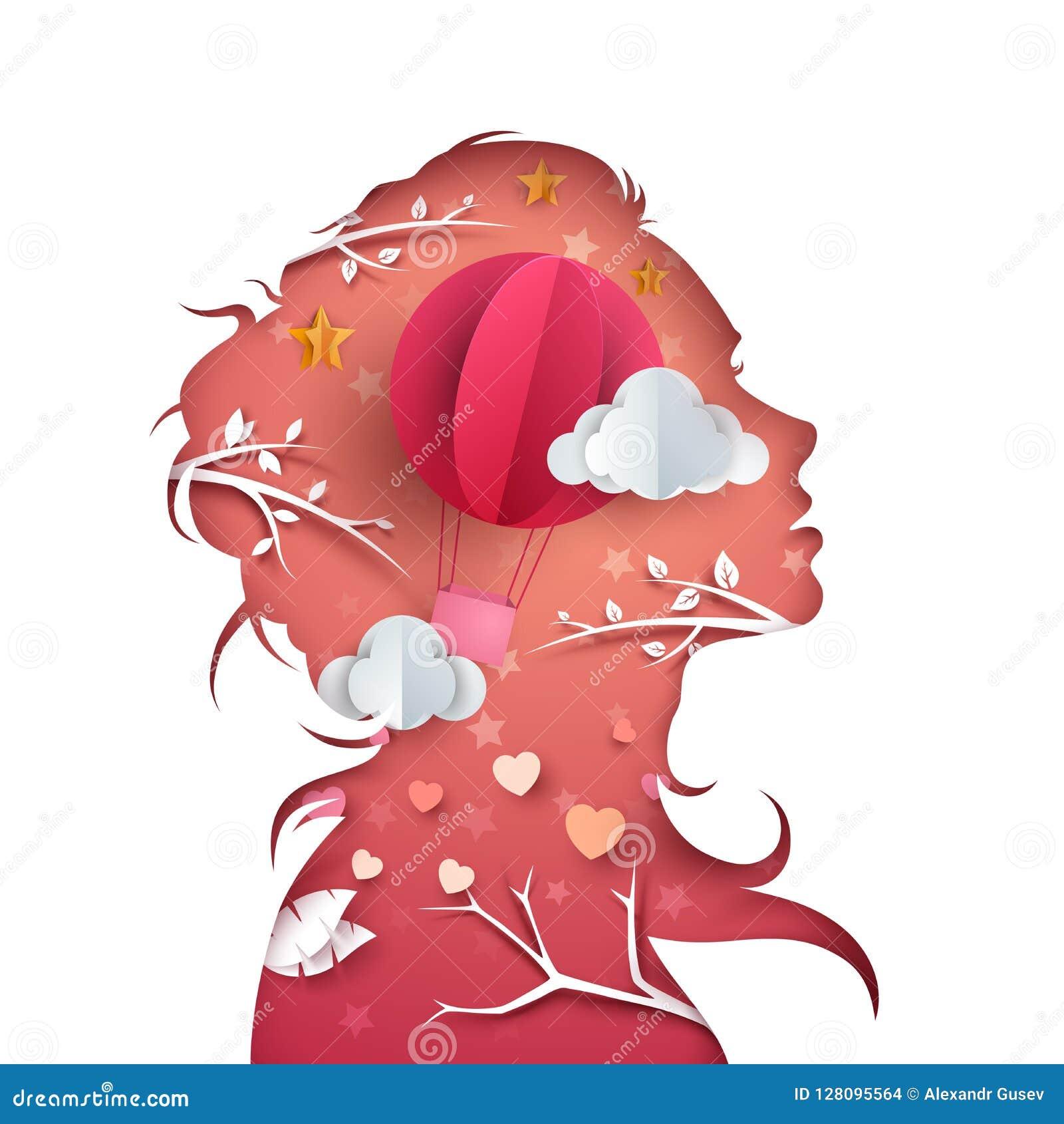 Caráteres bonitos da mulher Ilustração do balão de ar