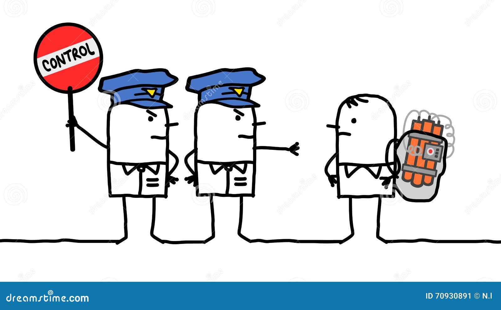 Caráteres - controle de polícia - bomba