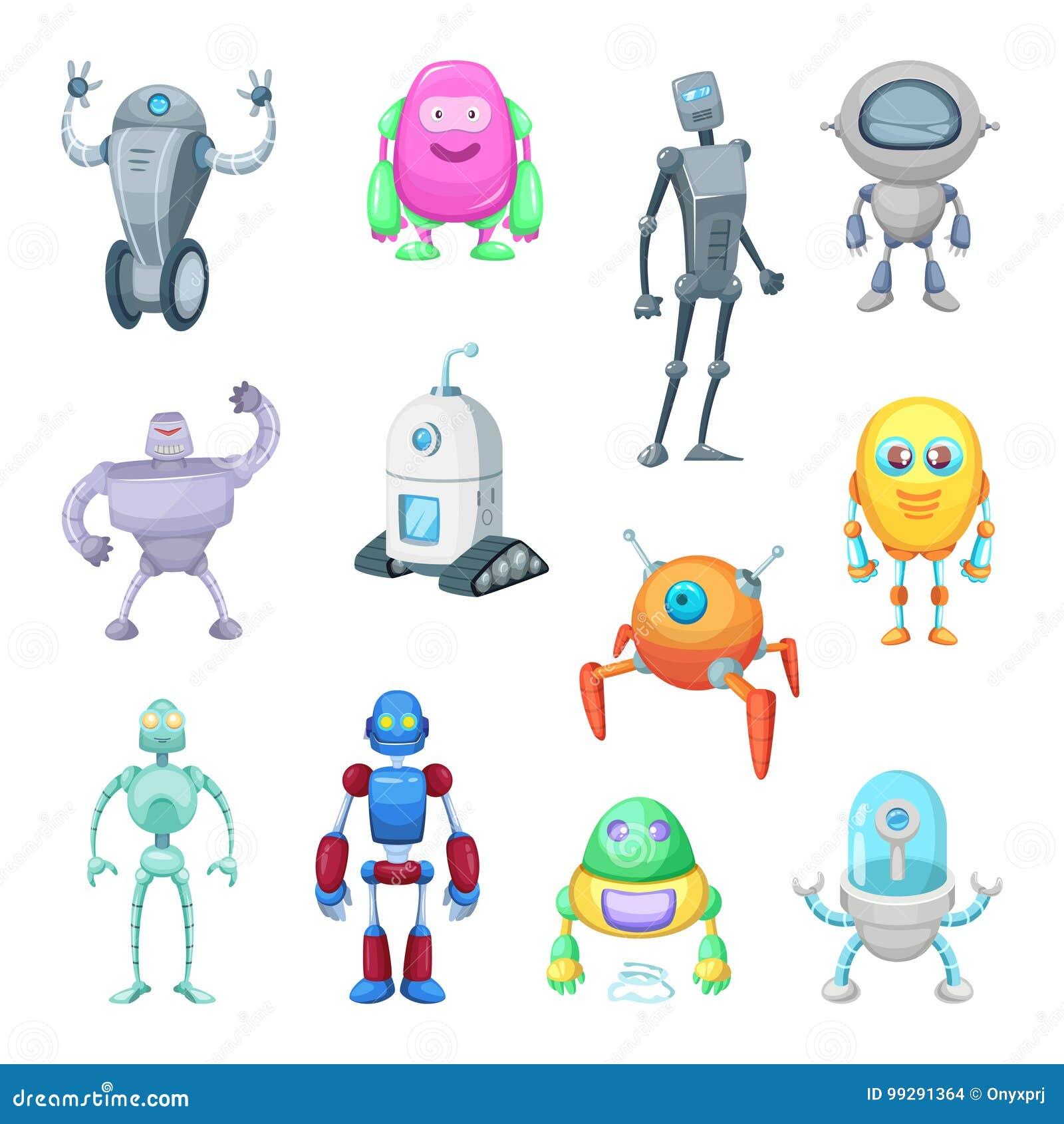 Caráteres de robôs engraçados no estilo dos desenhos animados Grupo da mascote do vetor de androides e de astronautas
