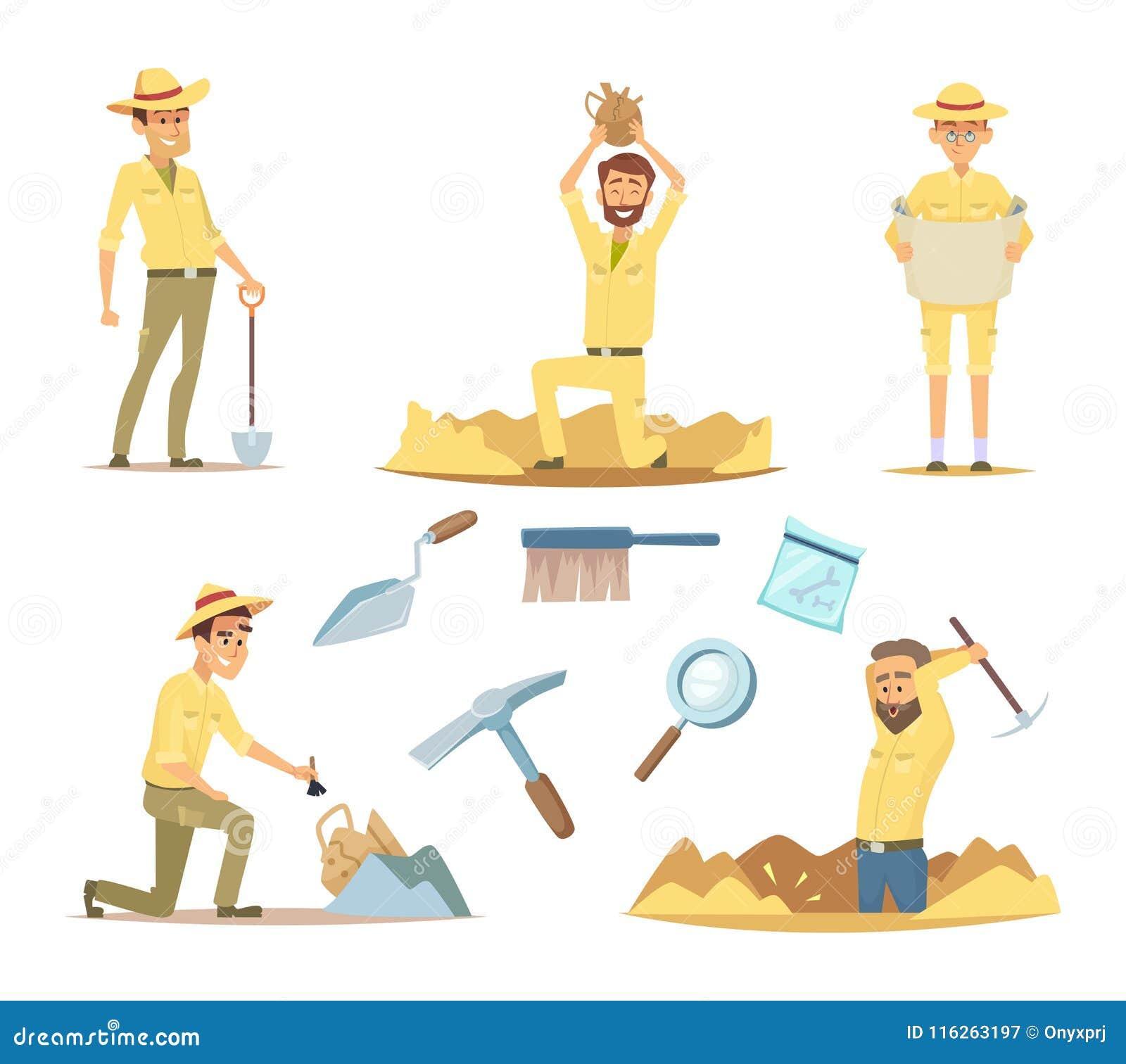 Carateres Do Arqueologo Do Vetor No Trabalho Mascote Dos Desenhos