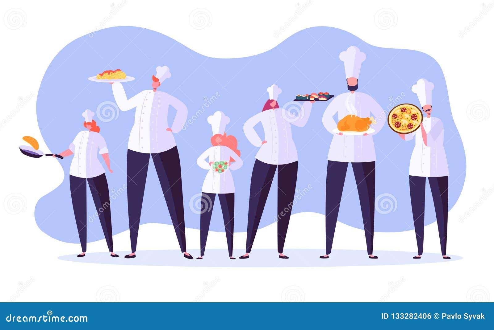 Caráteres do cozinheiro chefe Restaurante de cozimento principal dos desenhos animados