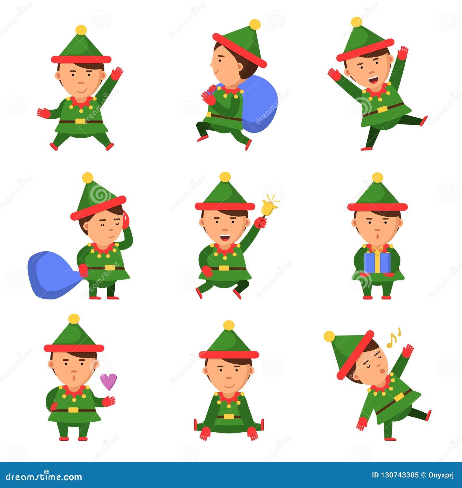Carateres Do Duende Pessoa Do Vetor Dos Desenhos Animados Do Natal